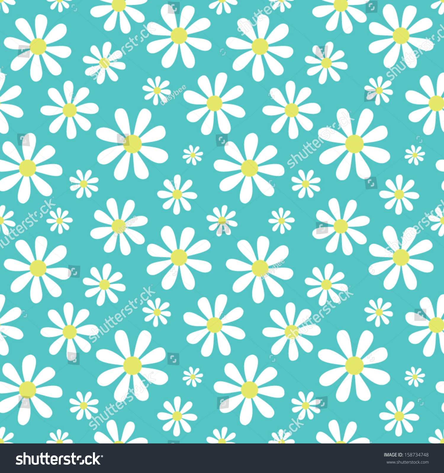 Seamless Background Cute Daisy Pattern Great Stock Vector