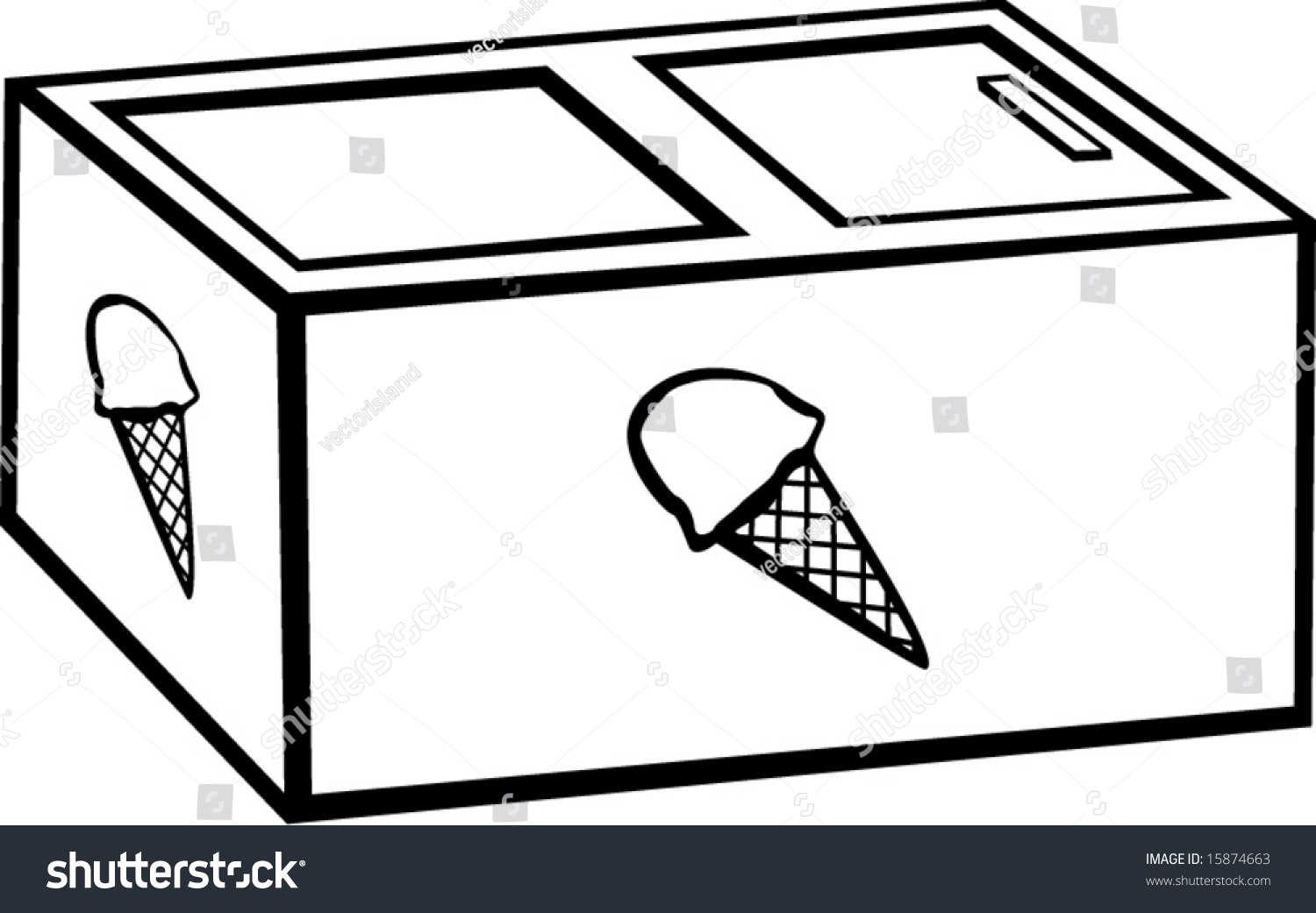 Ice Cream Vending Freezer Stock Vector 15874663 - Shutterstock