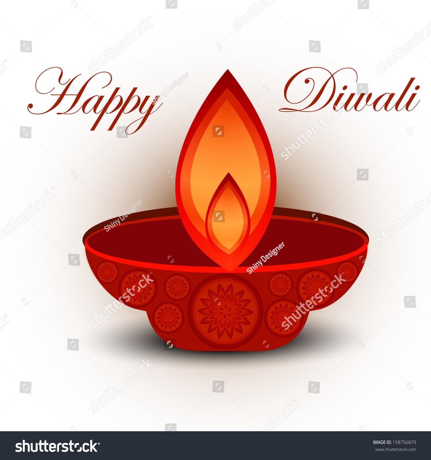 Vector Greeting Card Colorful Happy Diwali Design Illustration Ez