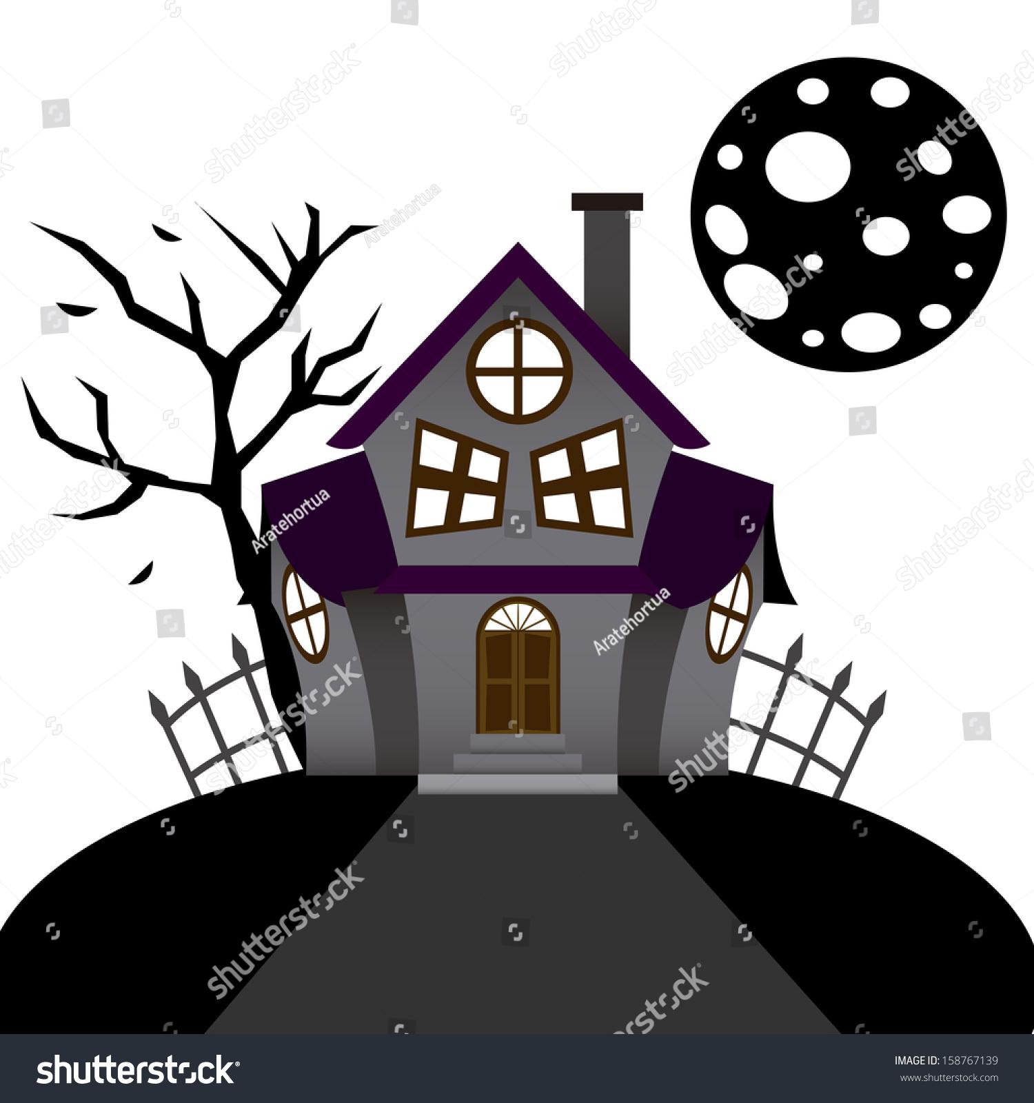 Vector cartoon funny haunted house on stock vector - Cartoon haunted house pics ...