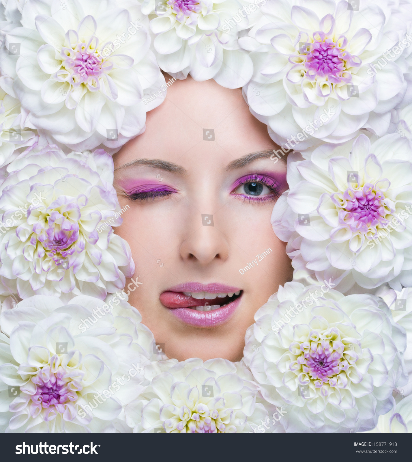 Beauty girl white flowers around her stock photo 158771918 beauty girl with white flowers around her face dahlia flowers beautiful makeup beauty izmirmasajfo Image collections