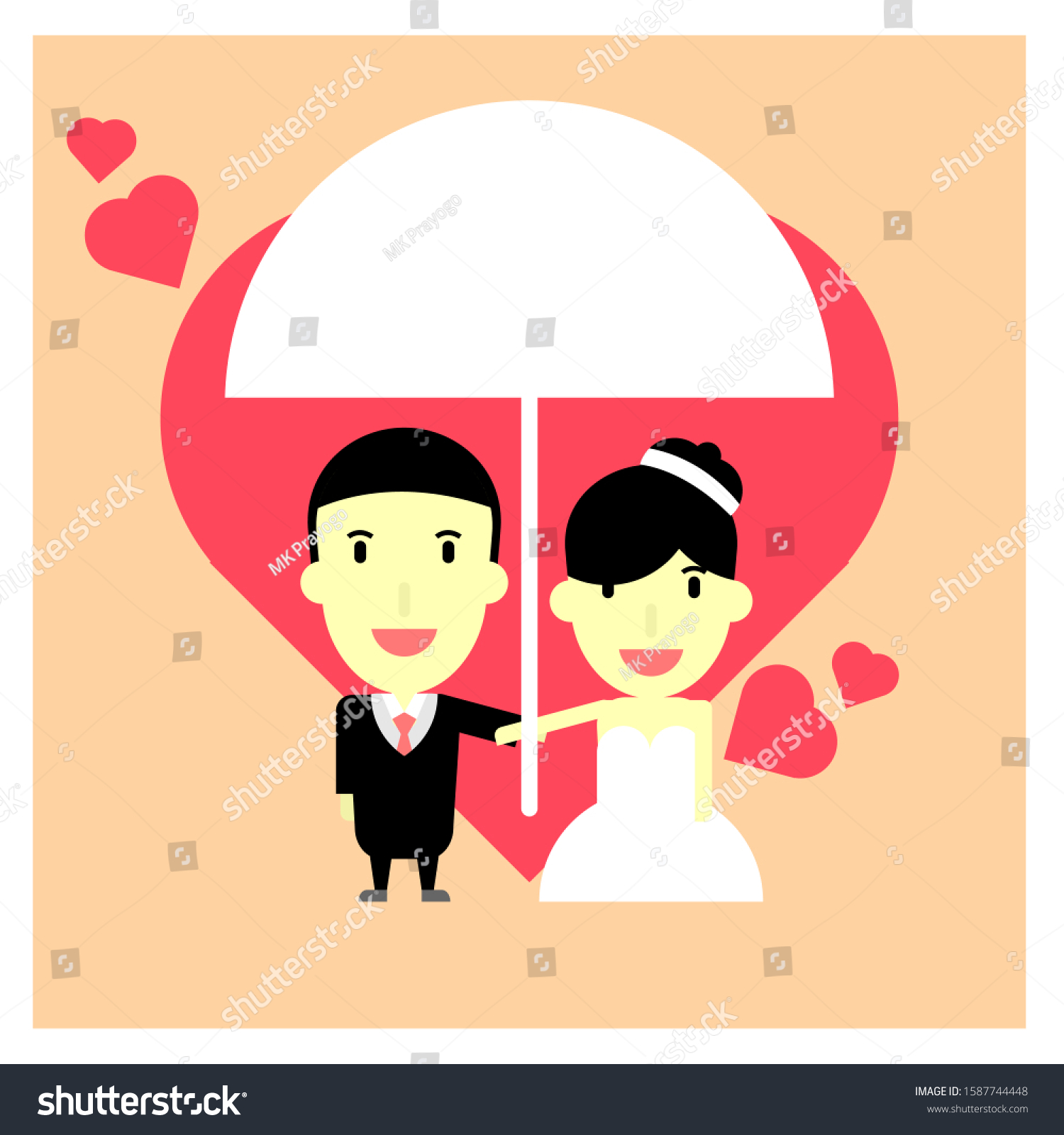 Cute Character Wedding Cartoon Married Vector Stock Vector Royalty Free 1587744448