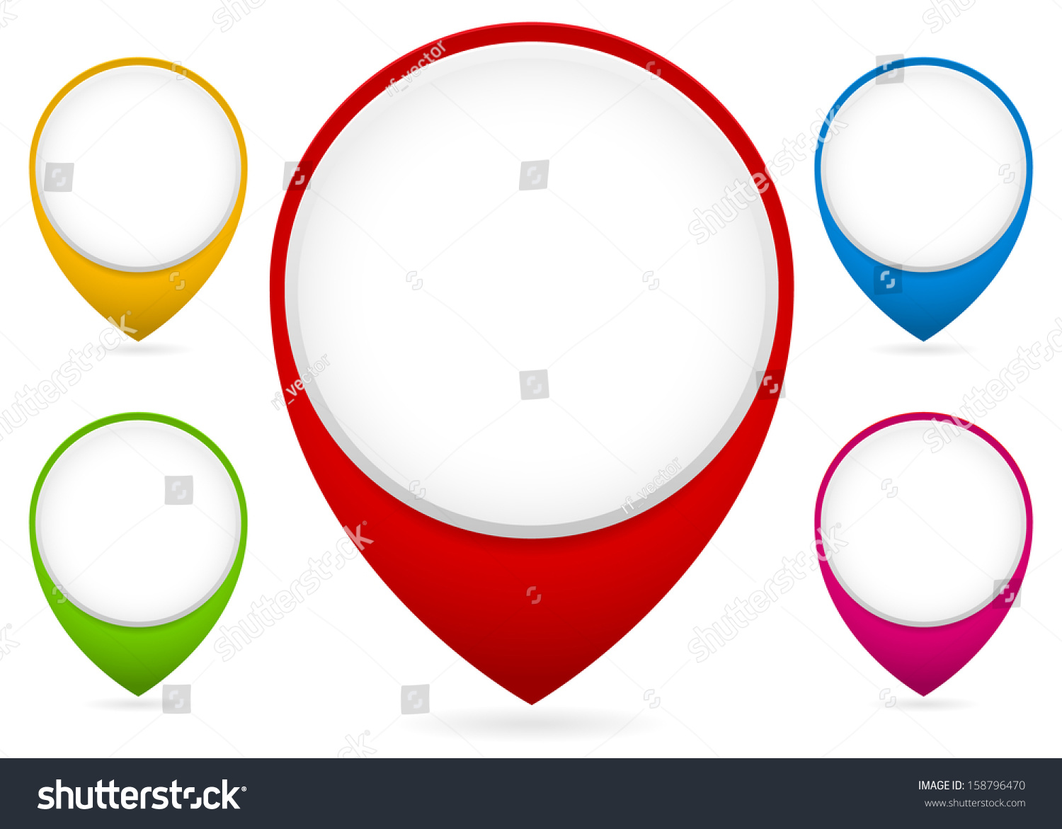 map markers map pins collection transparent stock vector royalty