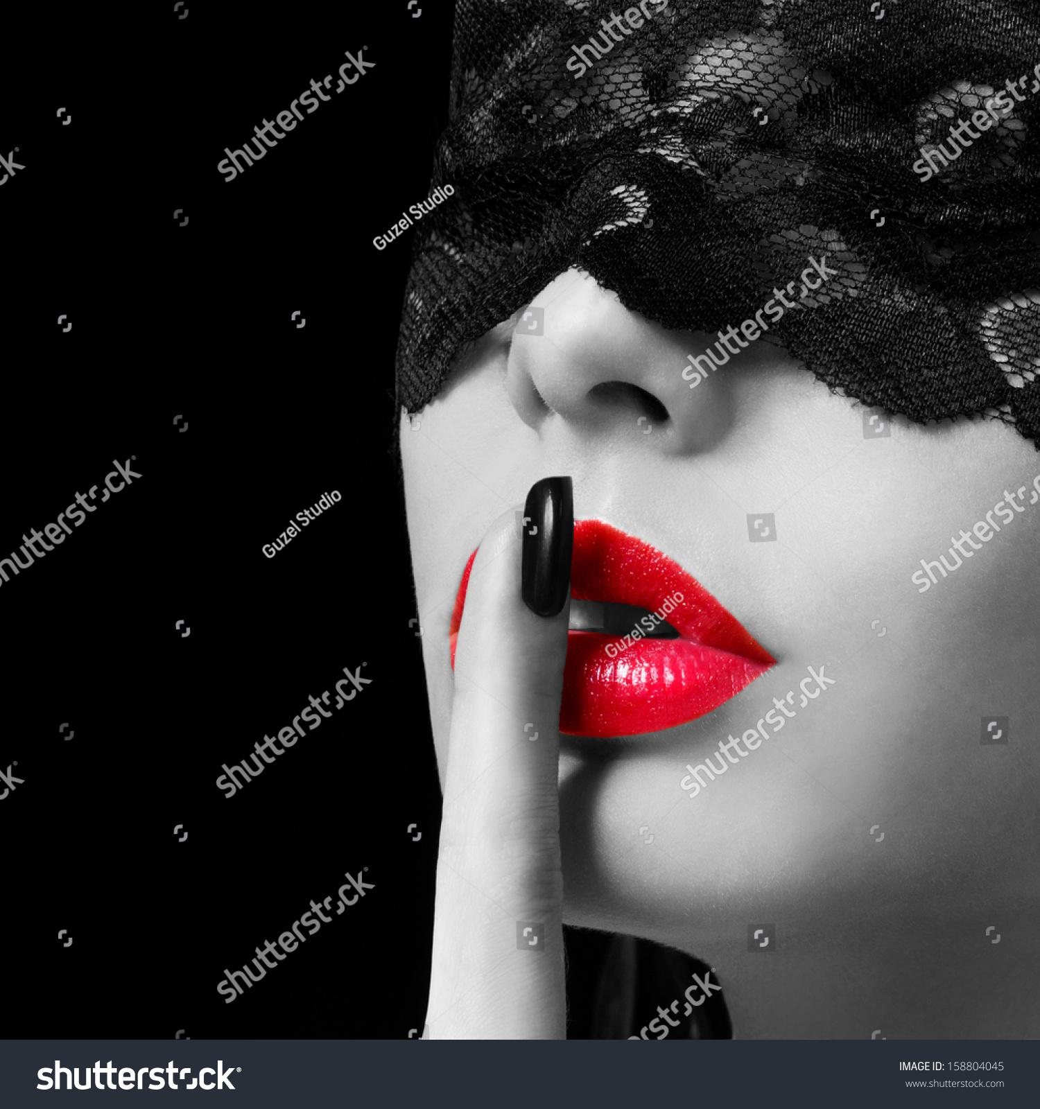 photo art of red lips finger hush