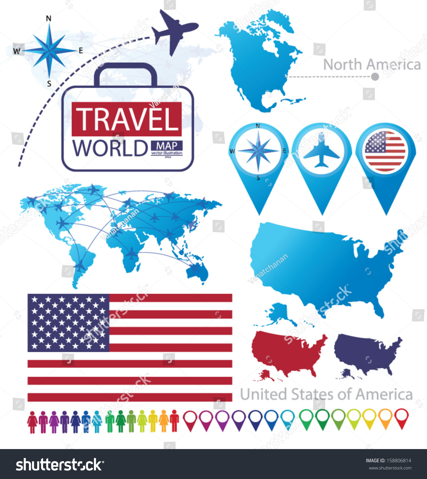 United States America Flag North America Vector 158806814 – North America Travel Map