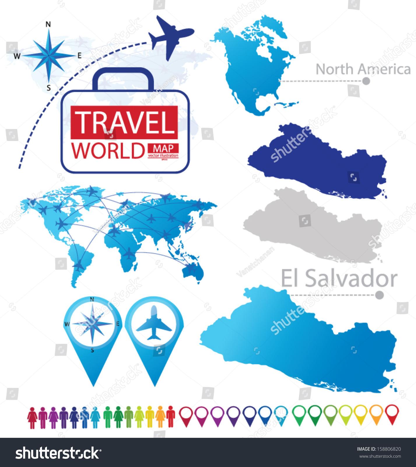 Republic El Salvador North America World Stock Vector - North america map el salvador