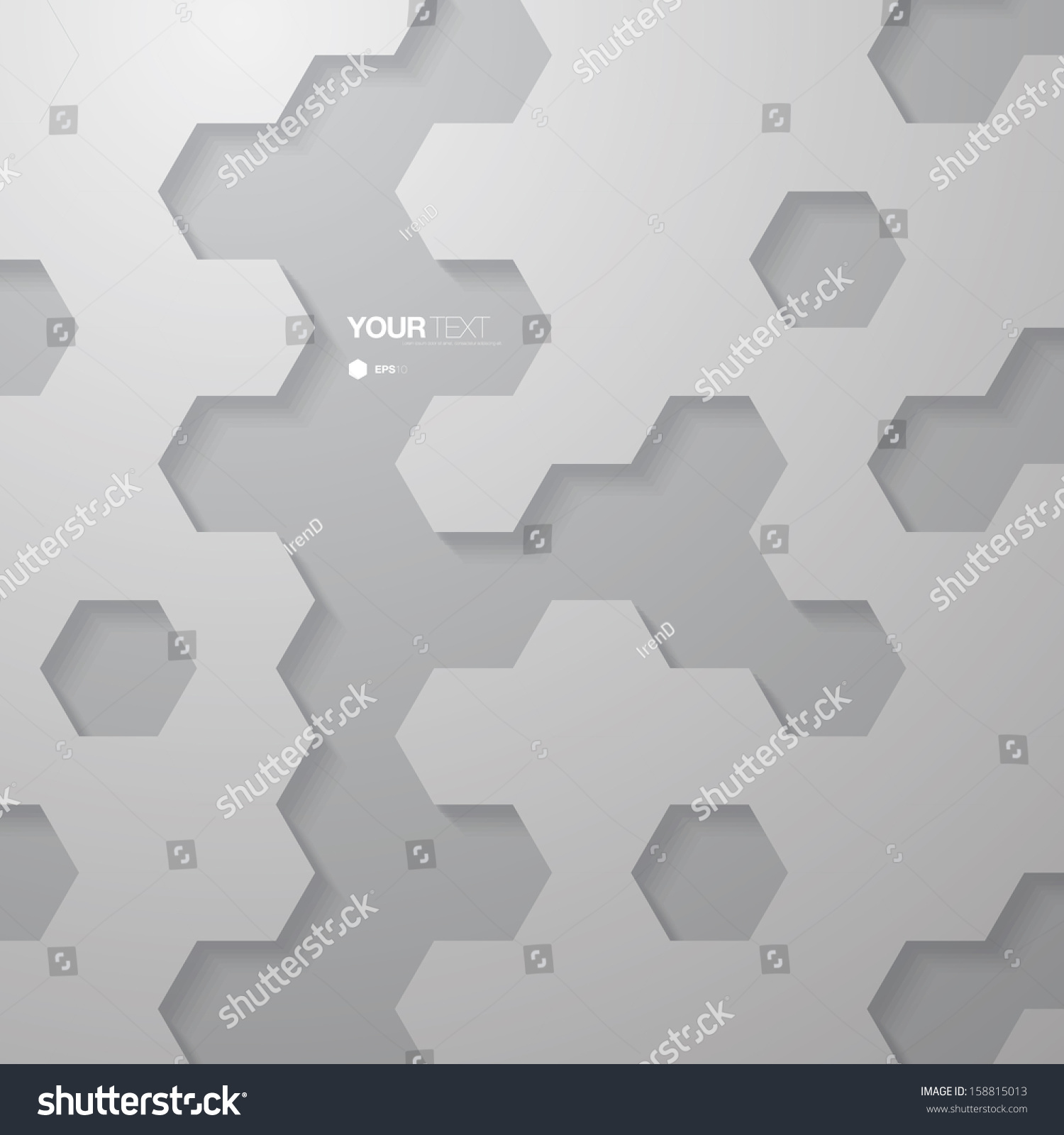 Abstract Grayscale Geometric Hexagon Pattern Design Stock Vector ...
