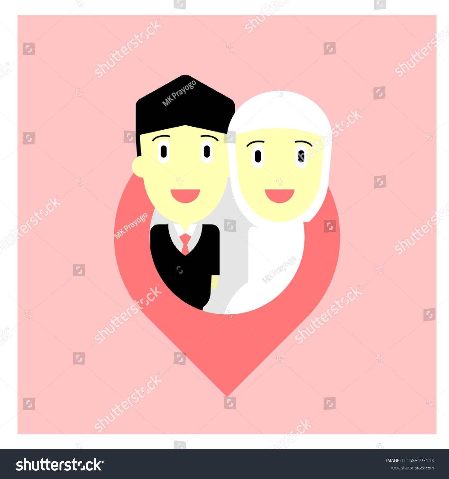 Cute Character Wedding Moslem Romantic Cartoon Stock Vector Royalty Free 1588193143