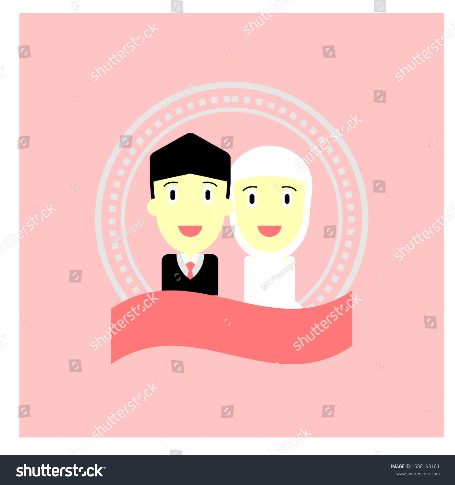 Cute Character Wedding Moslem Romantic Cartoon Stock Vector Royalty Free 1588193164
