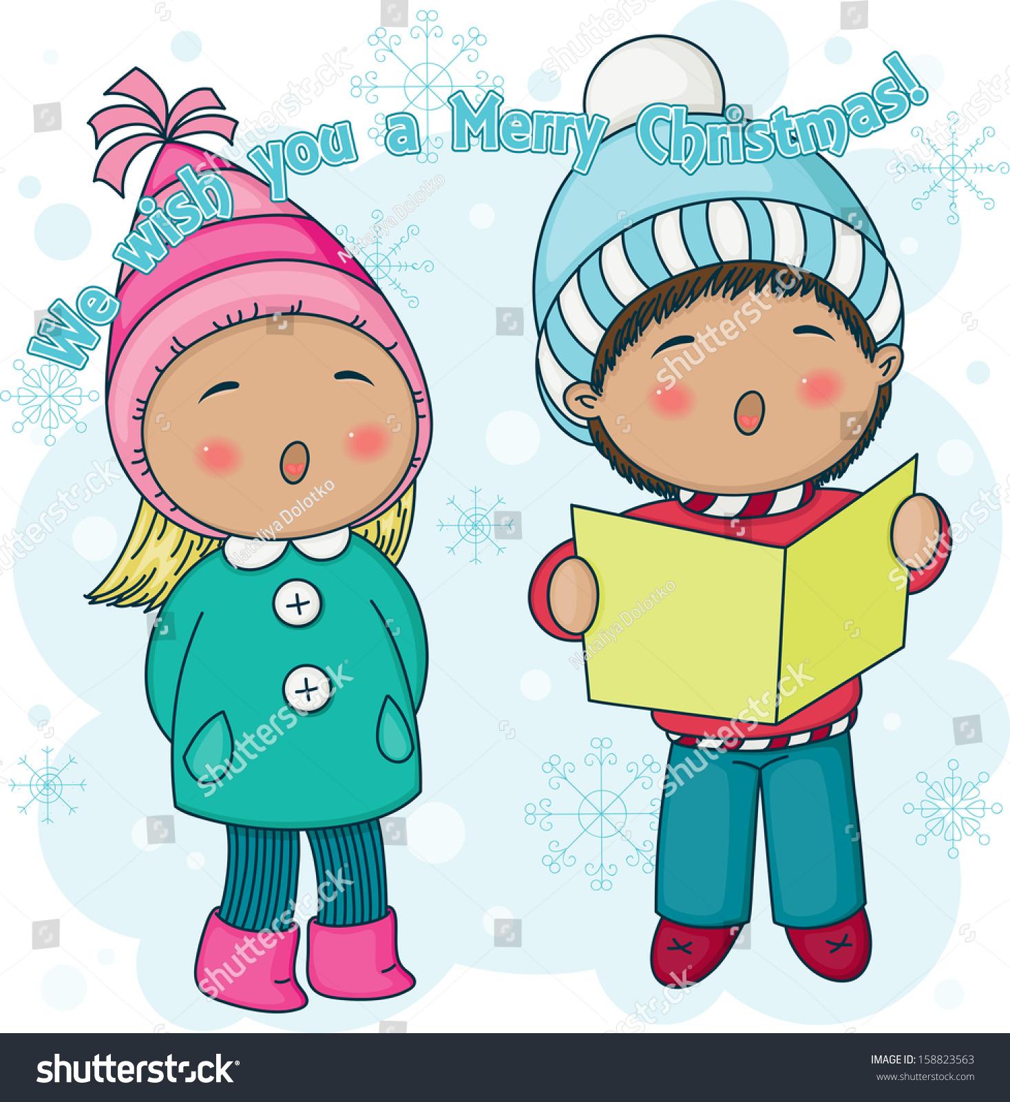 Little Christmas Carolers Singing Outside Nice Stock Vector ...