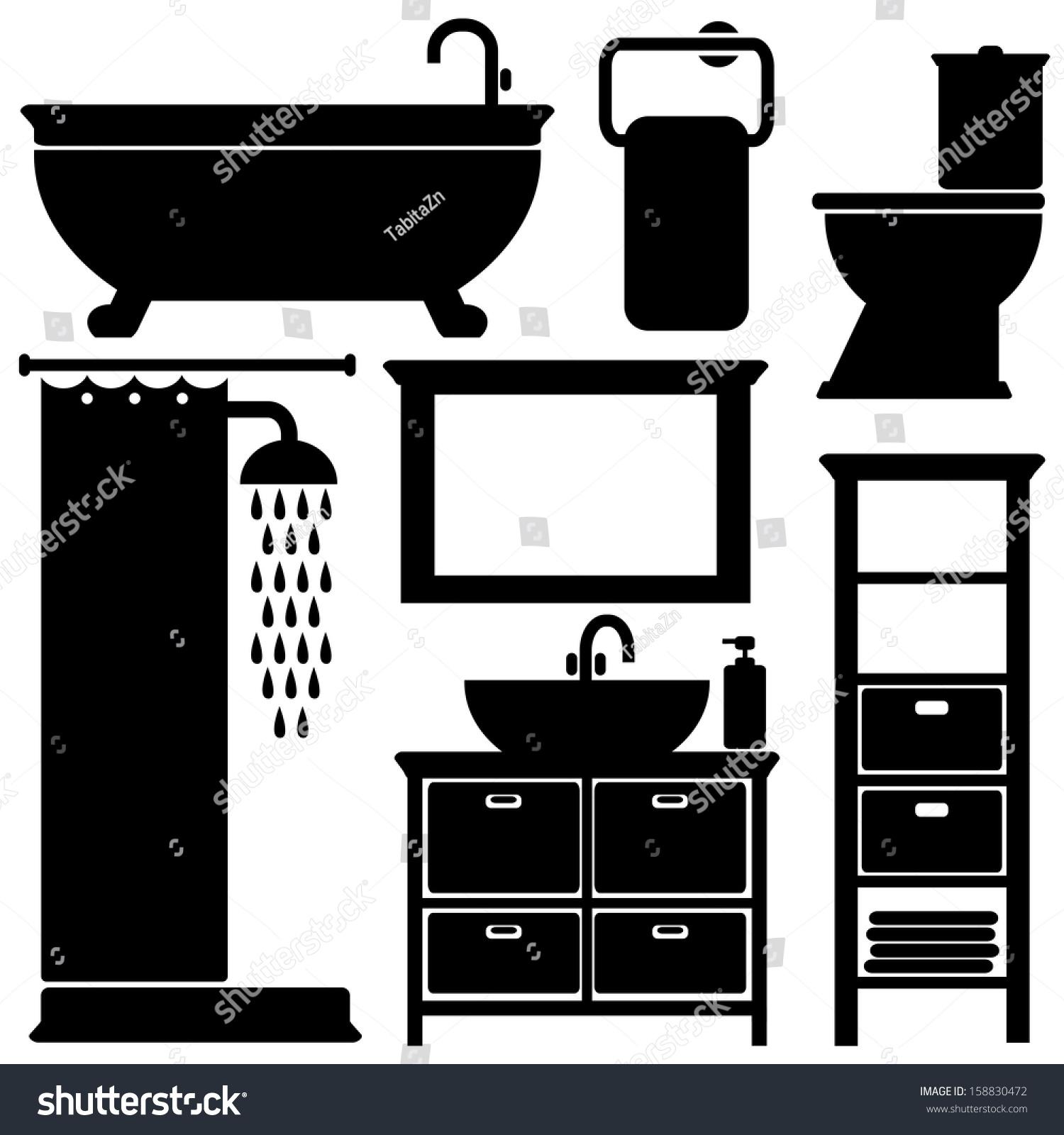 Bathroom Toilet Black Icons Set, Silhouettes On White
