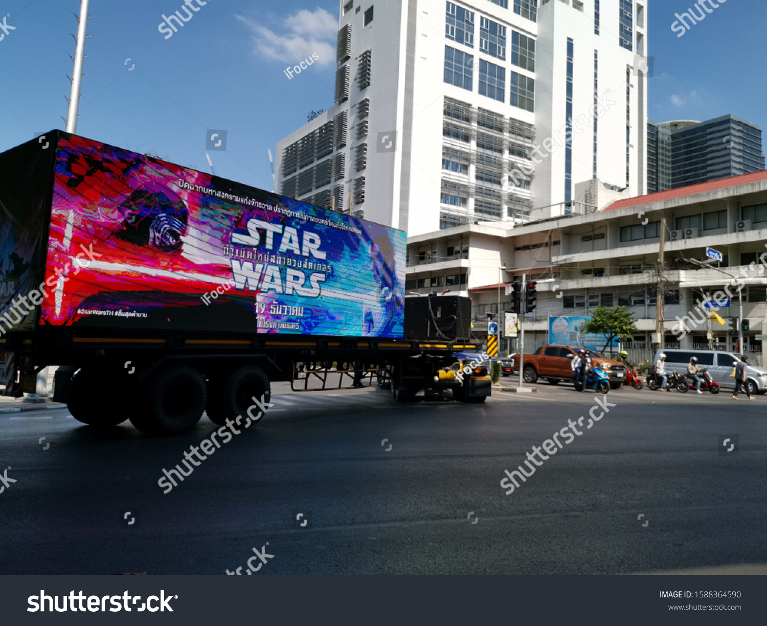 BANGKOK, THAILAND - DECEMBER 24, 2019: A lorry with digital billboard advertisement for Star Wars is spotted on the streets on December 14, 2019 in Thai capital Bangkok