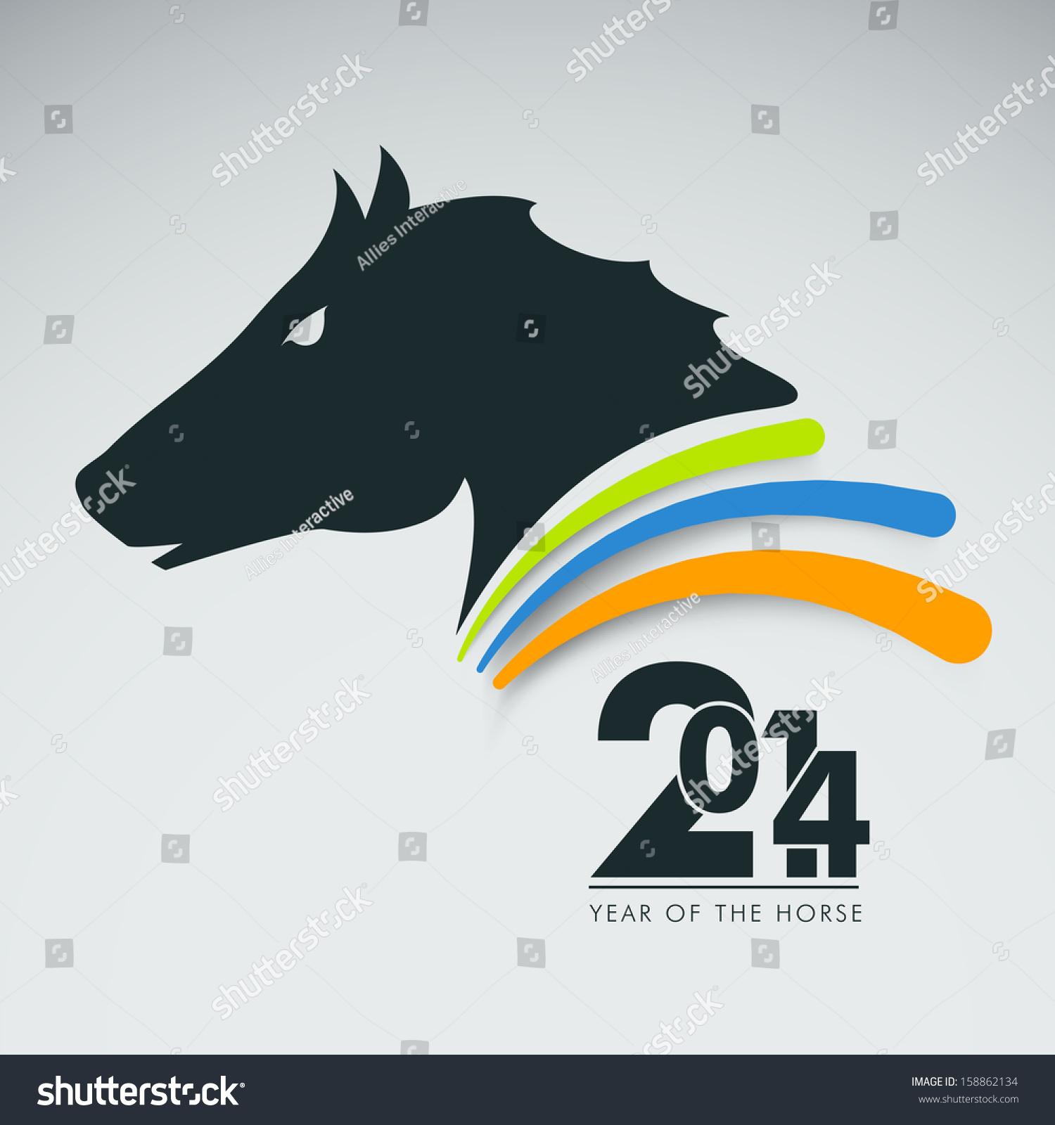 Chinese Symbol Year Horse On Grey Stock Photo Photo Vector