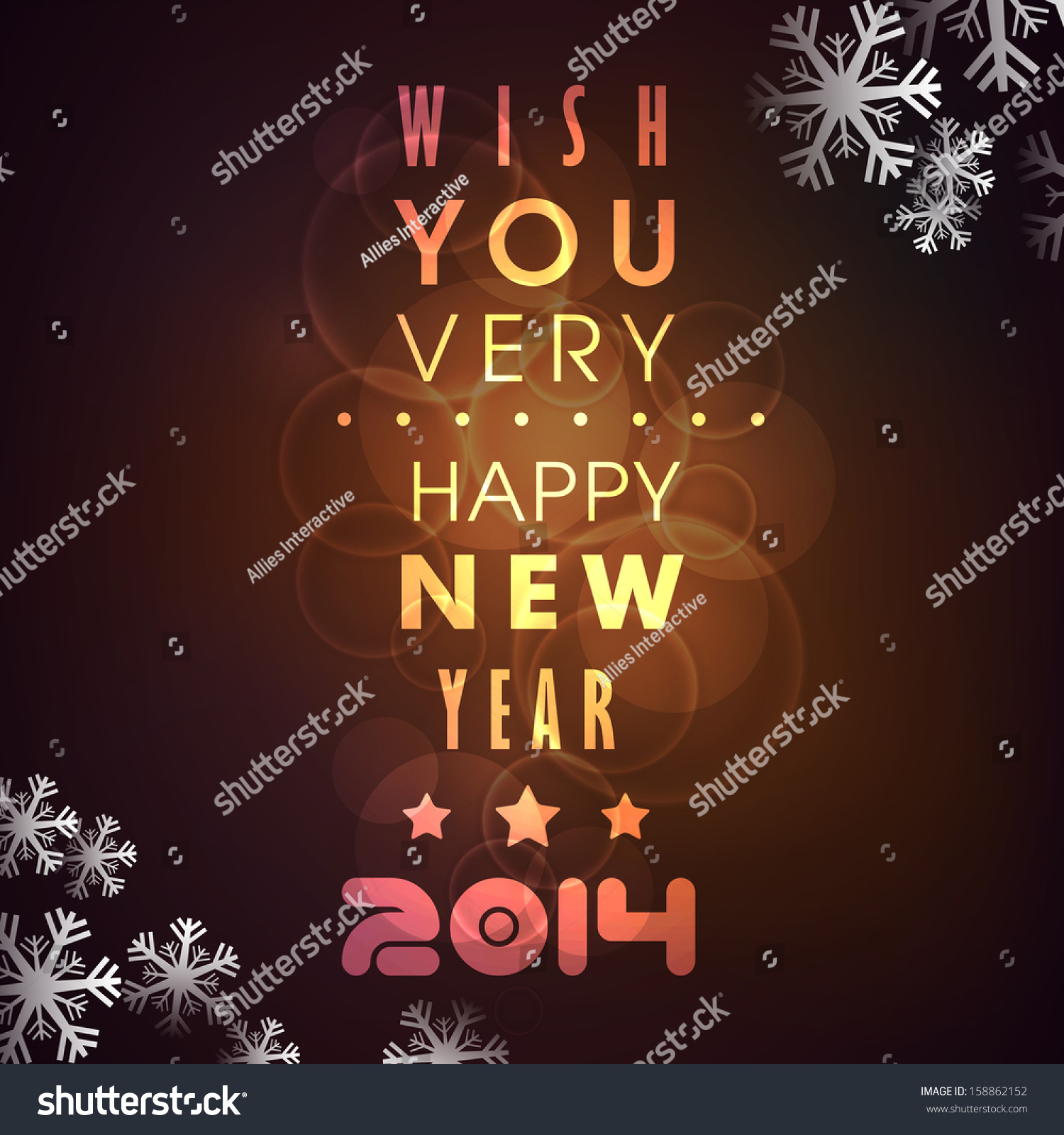 Elegant greeting card happy new year stock vector 158862152 elegant greeting card for happy new year 2014 with golden text on snowflakes decorated brown background m4hsunfo