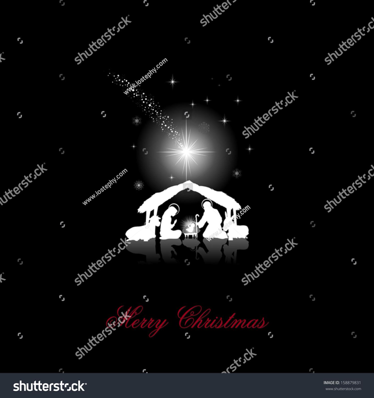Nativity Scene Holy Family White Silhouettes Stock Vector Royalty