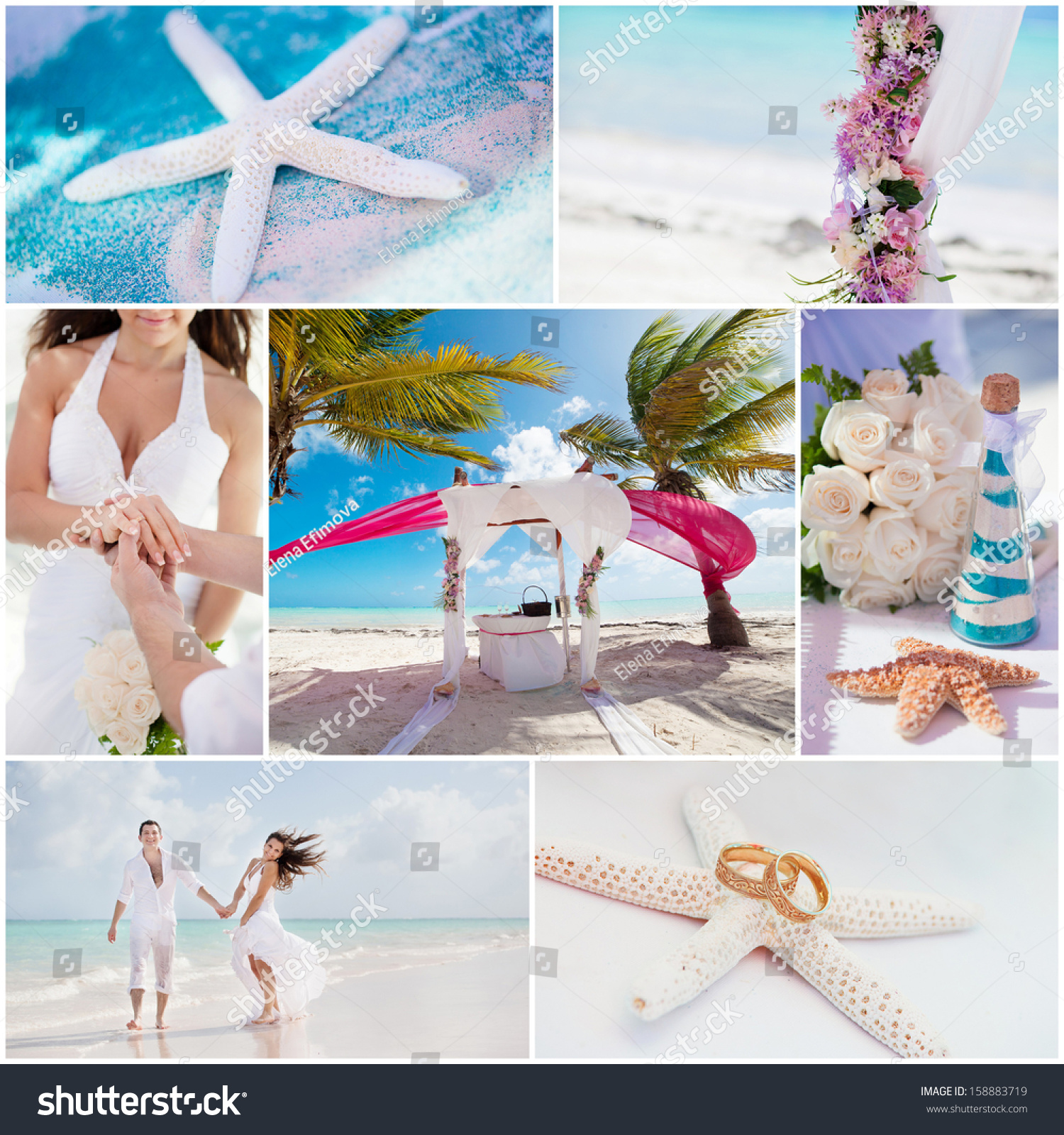Beach Wedding Ceremony Playlist: Wedding Ceremony When On Beach Collage Stock Photo