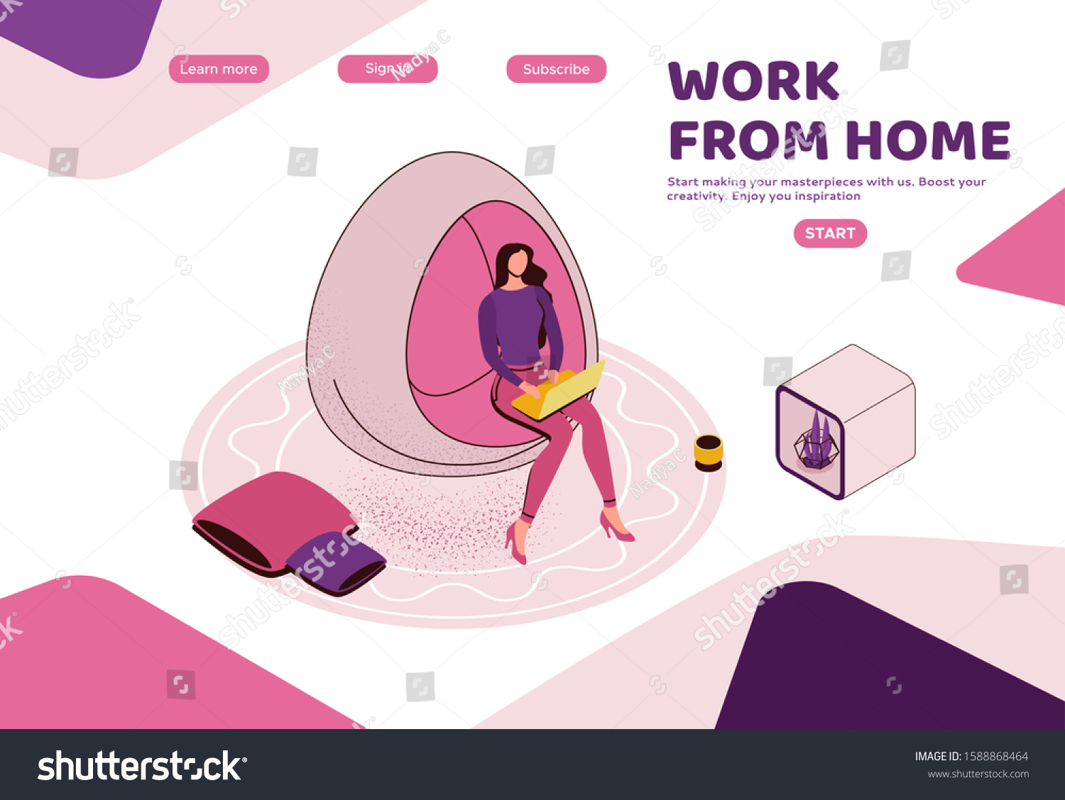 Freelancer Office Woman Laptop Co Working Stock Vector Royalty Free 1588868464