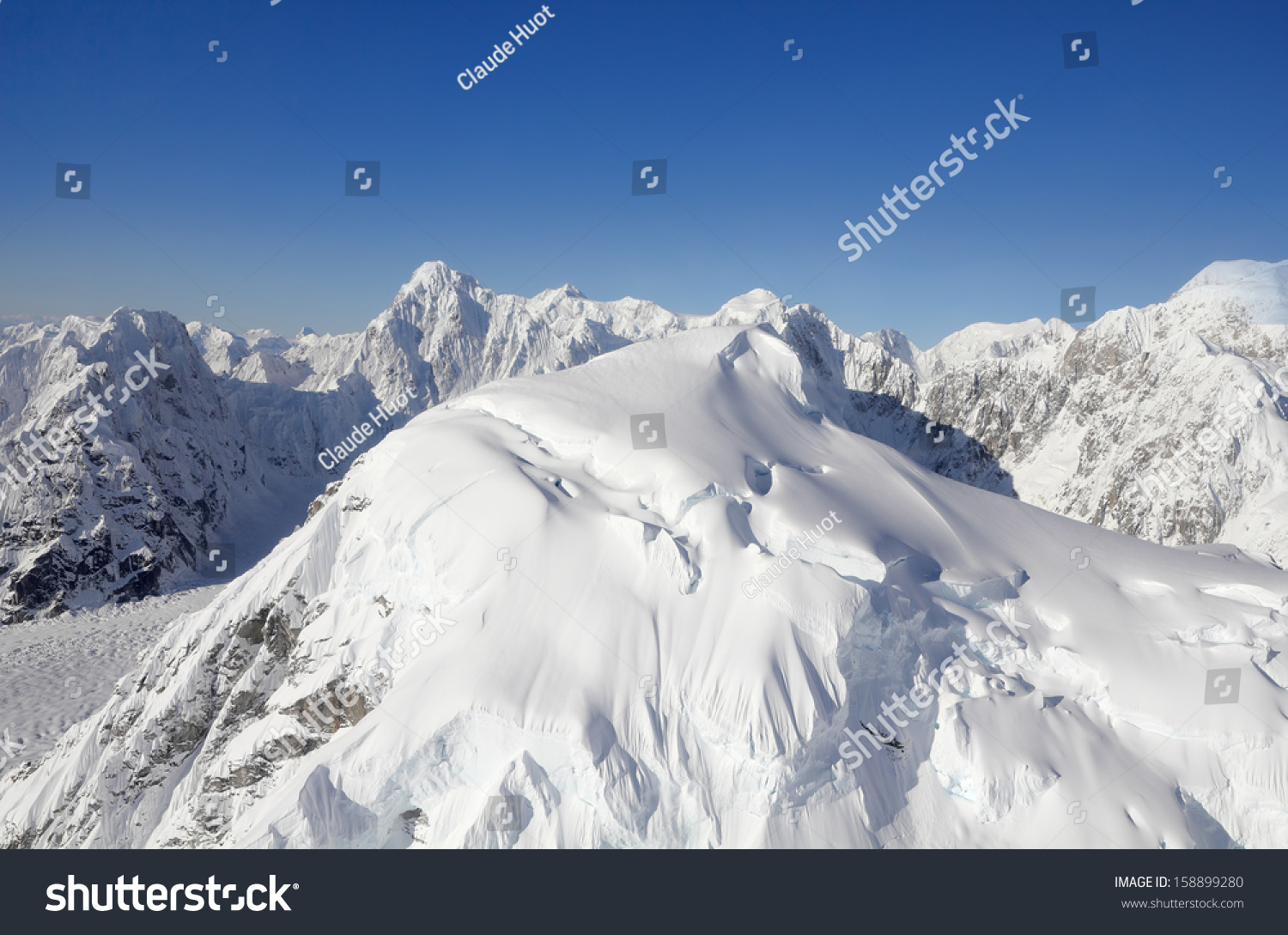 Snow Capped Mountains part of the Alaska Mountain Range in Denali National Park and Preserve
