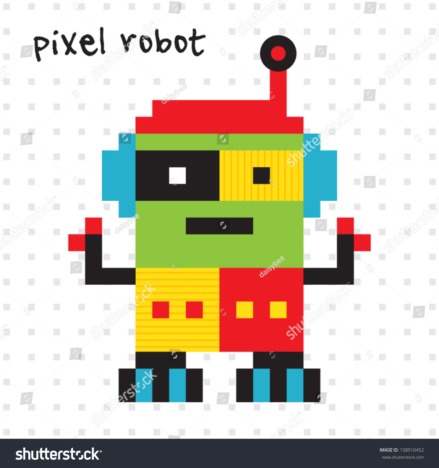 Cute retro pixel robot bright colors stock vector 158910452 cute retro pixel robot in bright colors great for birthday cards party invitations amipublicfo Gallery