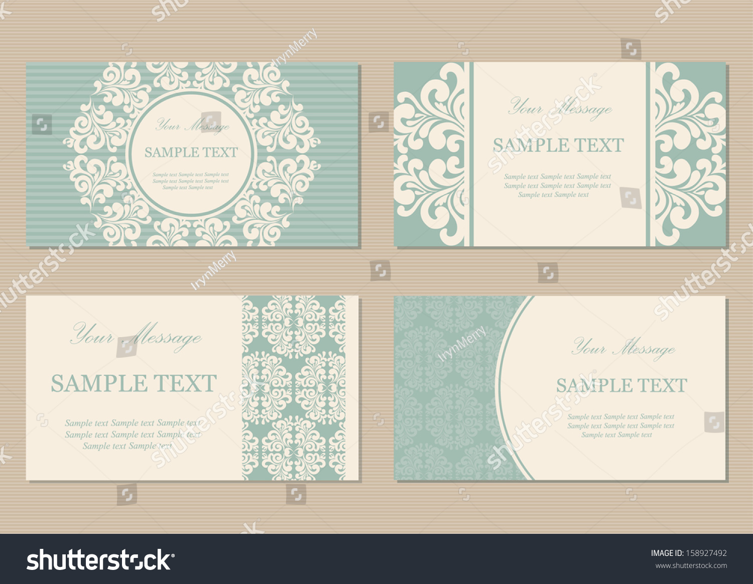 Floral Vintage Business Invitation Cards Stock Vector 158927492 ...
