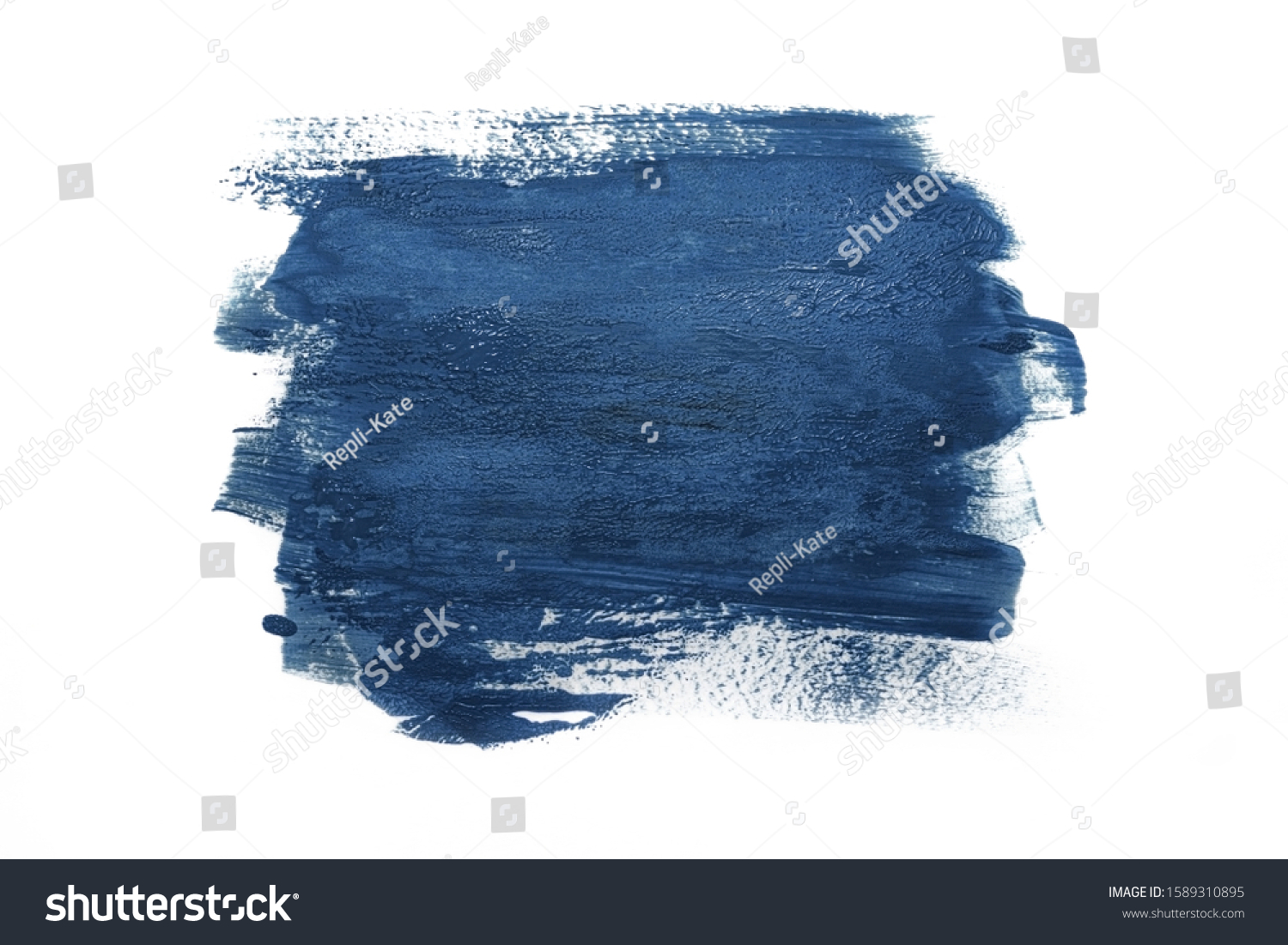 Trendy Color of the year 2020 classic blue. Sample of classic blue paint on white isolated background.Texture of blue paint. Fashionable classic blue  color of spring-summer 2020 season. #1589310895