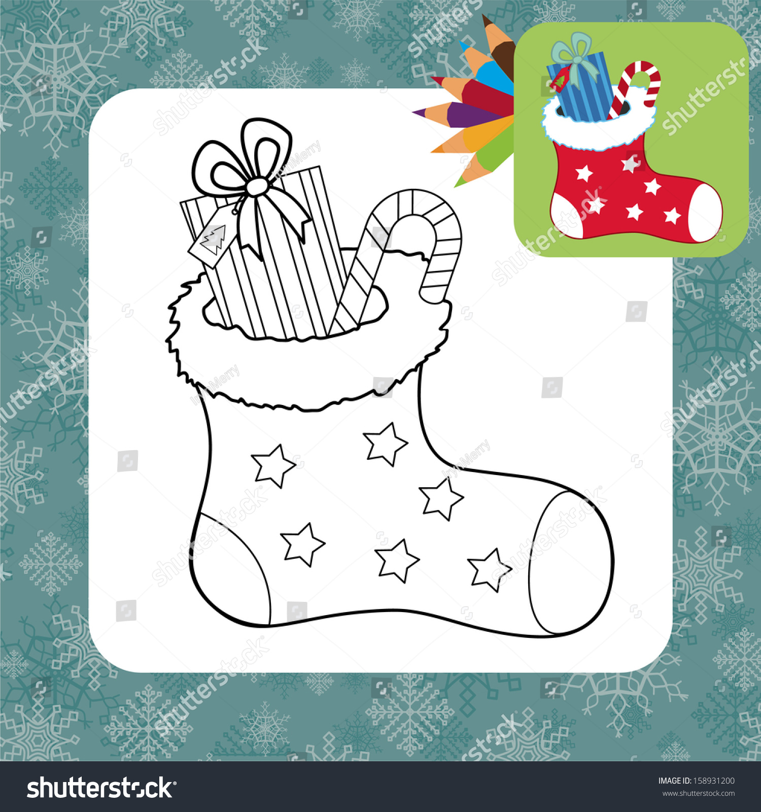 christmas gifts coloring page vector illustration stock vector