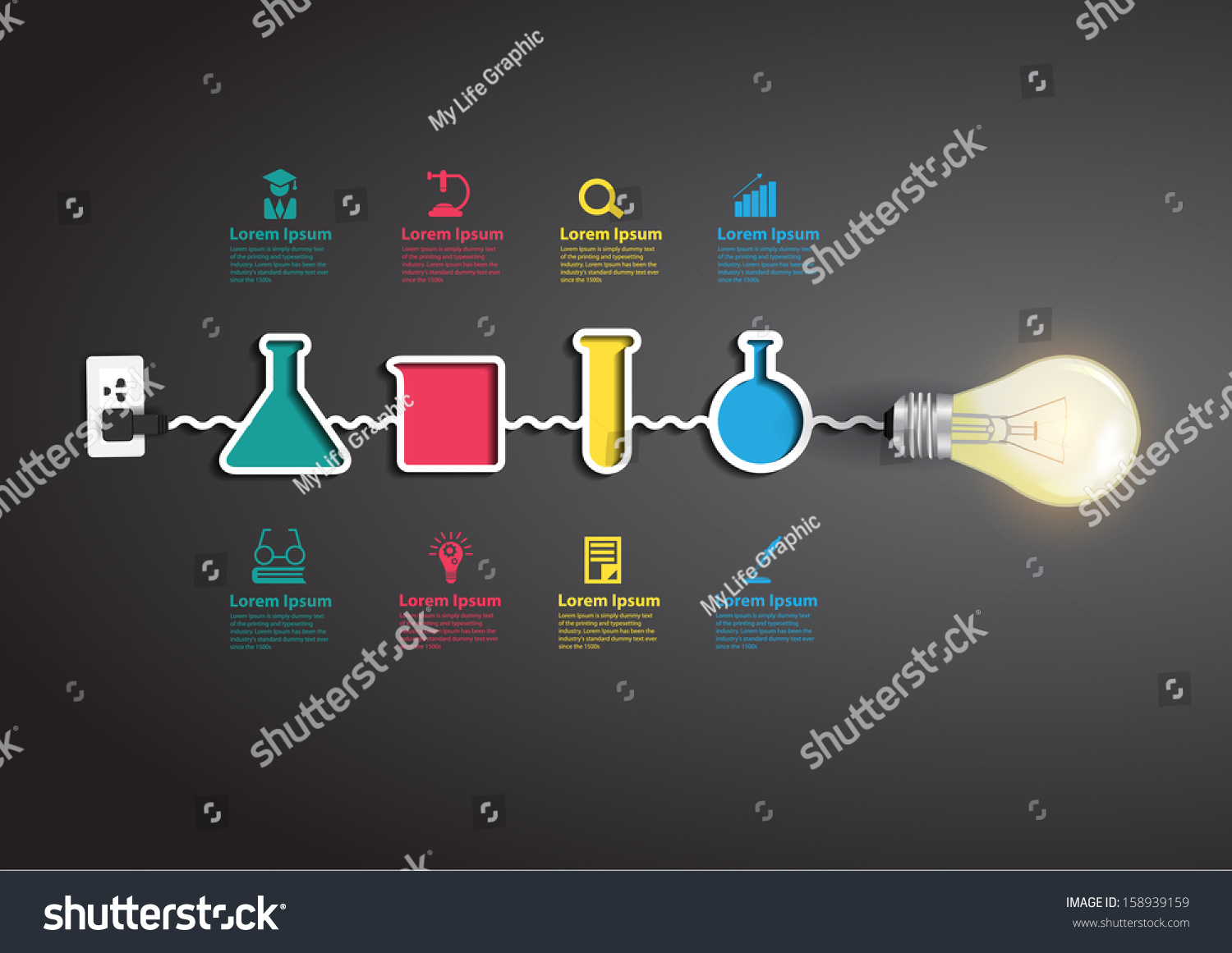 creative light bulb idea chemistry science stock vector  creative light bulb idea chemistry and science icon education concept vector illustration modern design