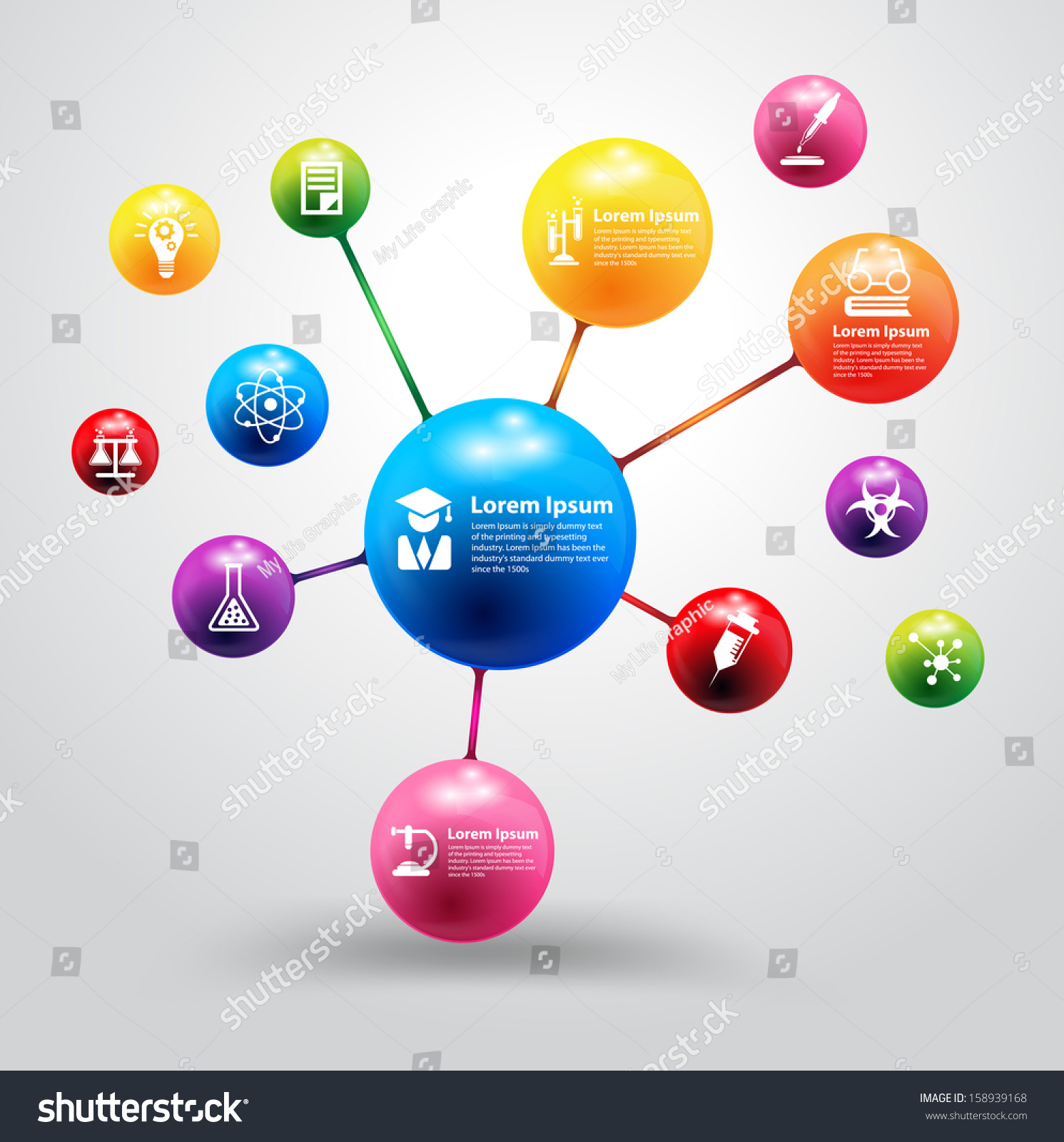 Model atom chemistry science icon education em vetor stock 158939168 model of atom with chemistry and science icon education concept vector illustration modern design template ccuart Gallery