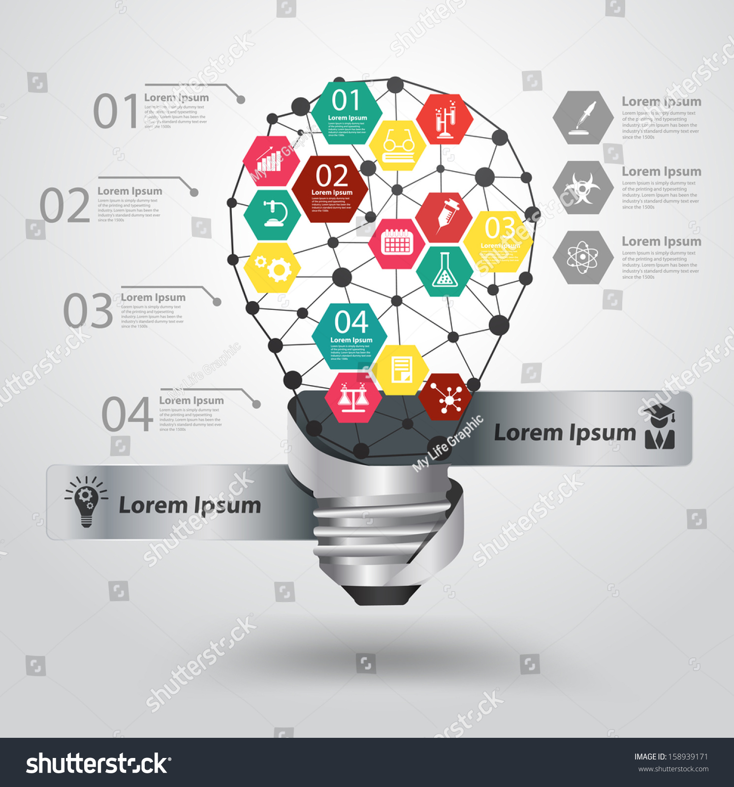 Creative Light Bulb Abstract Infographic Hexagon Stock Vector Diagram Of Incandescent Modern Design Template Workflow Layout Step Up