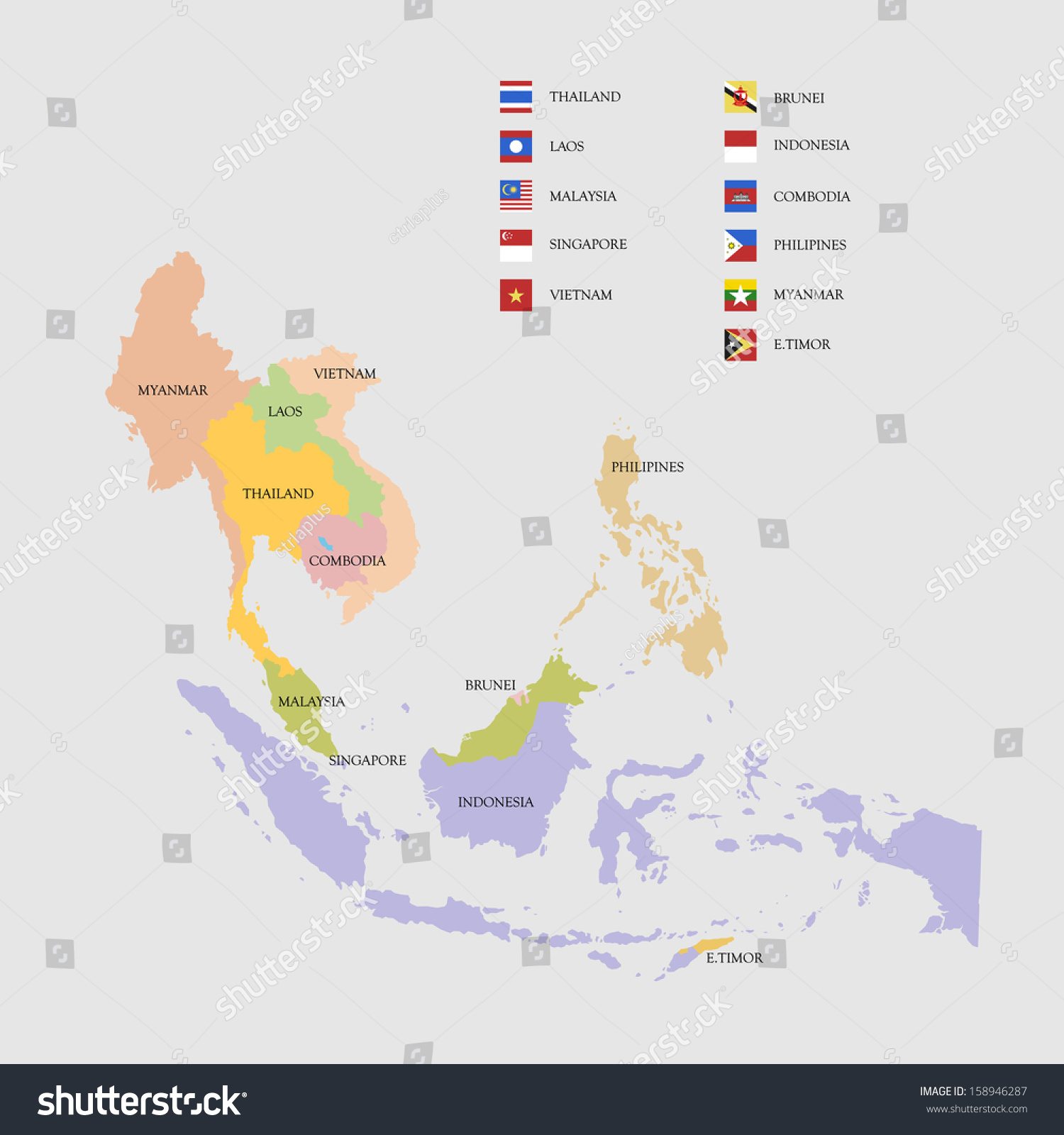 South East Asia Map Flags Vector Stock Vector (Royalty Free) 158946287