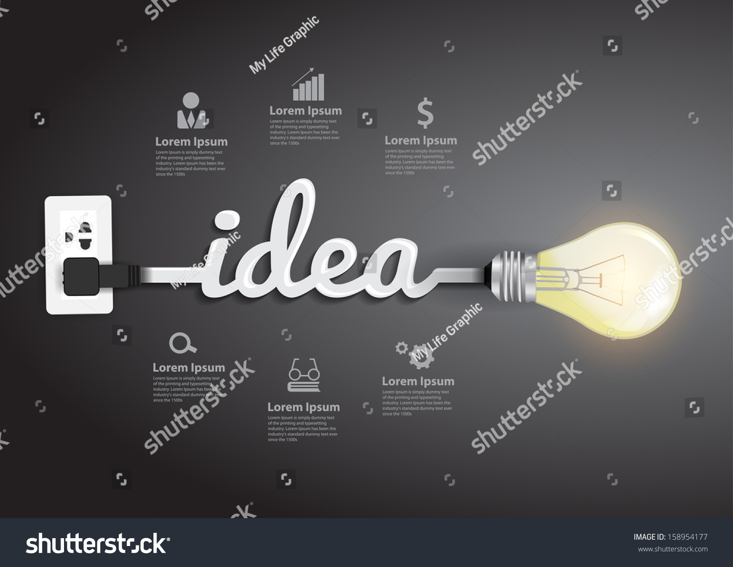 creative light bulb idea abstract infographic inspiration concept modern design template workflow layout diagram - Idea Design