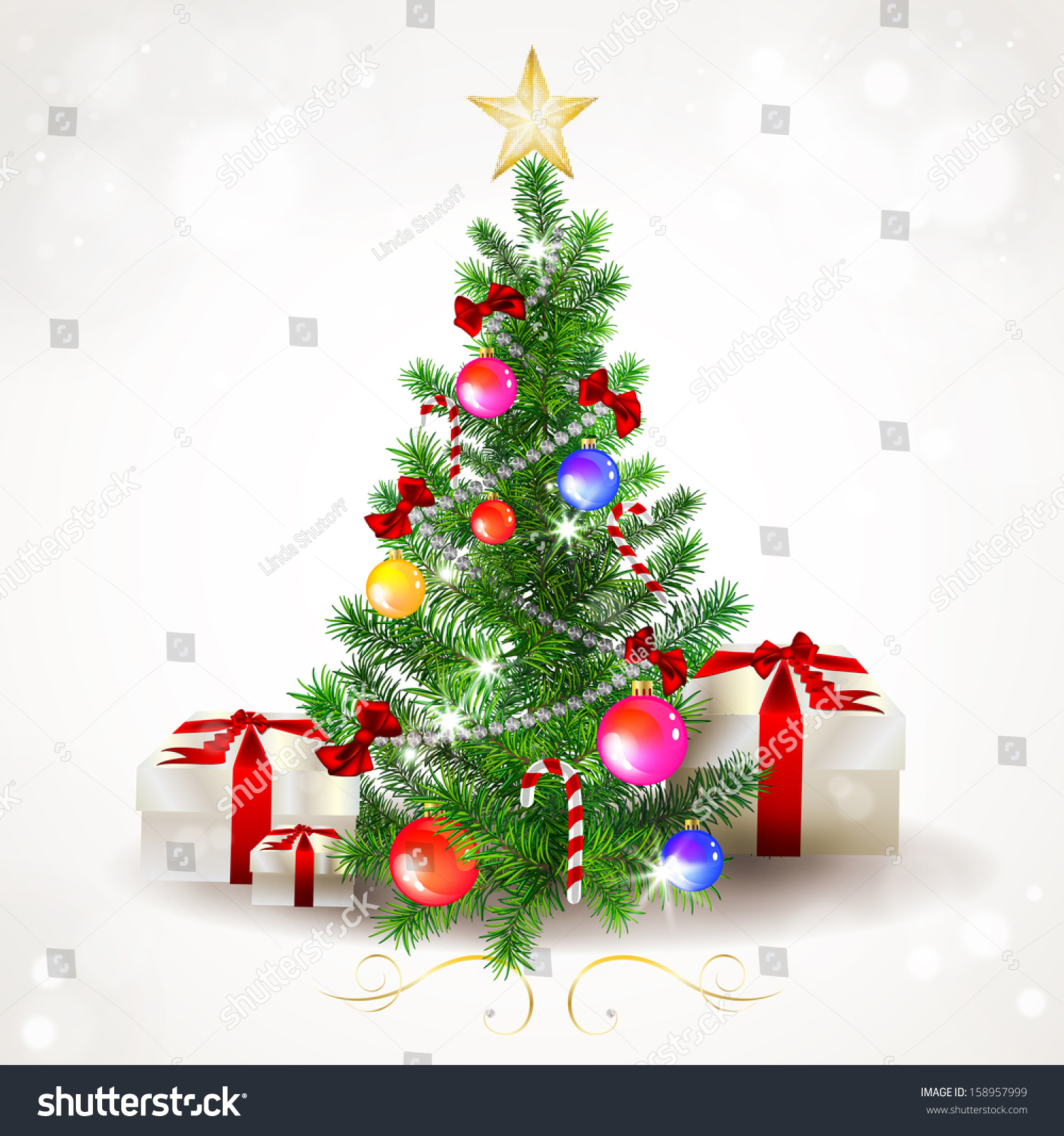 Illustration Decorated Christmas Tree Stock Illustration 158957999