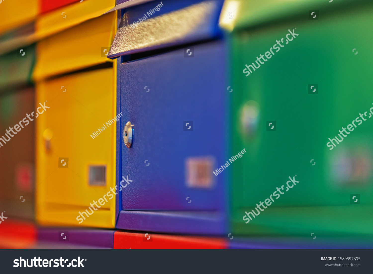 colorful mailboxes at the entrance
