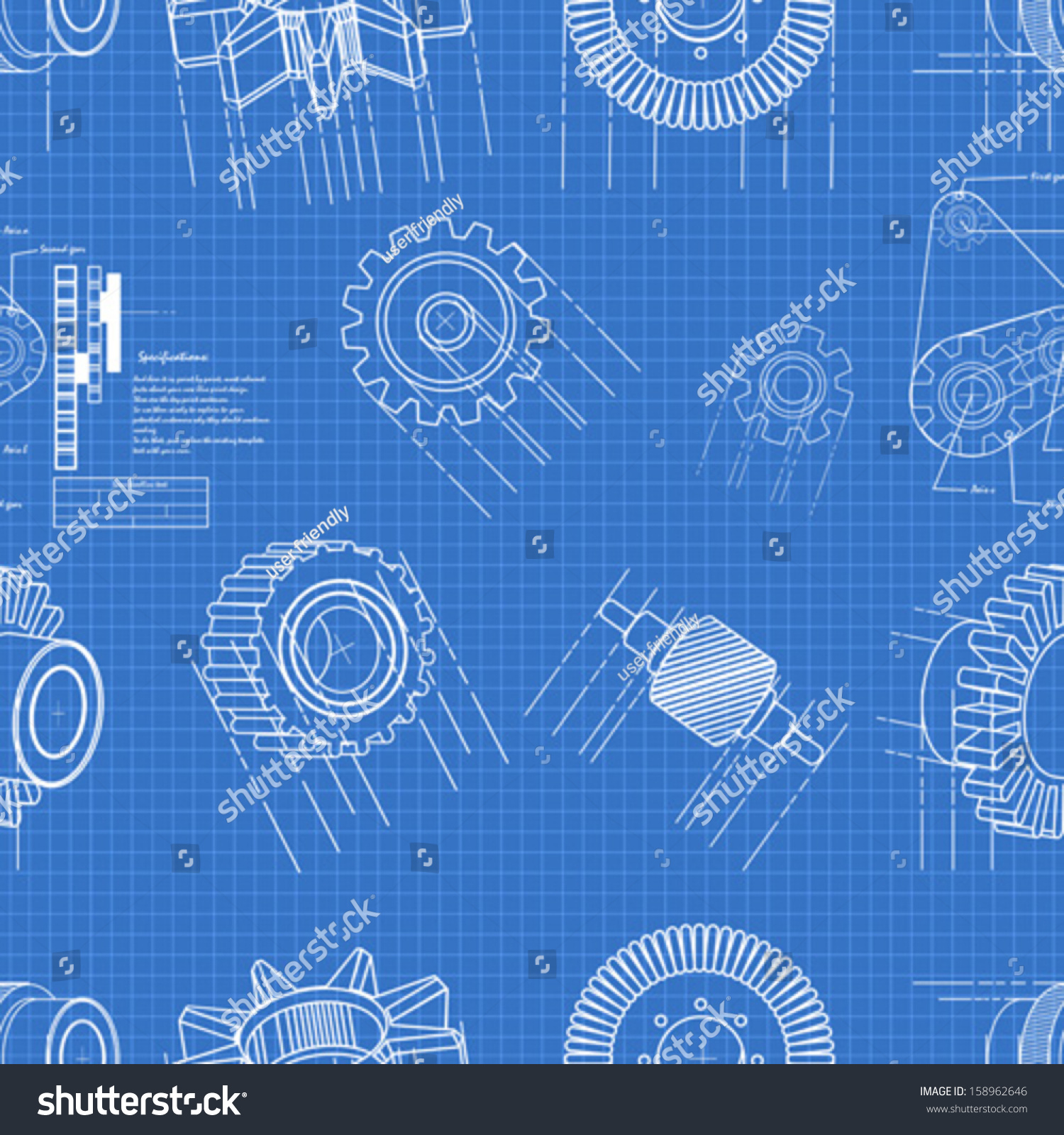 Blueprint gears seamless pattern stock vector 158962646 shutterstock blueprint gears seamless pattern malvernweather Images
