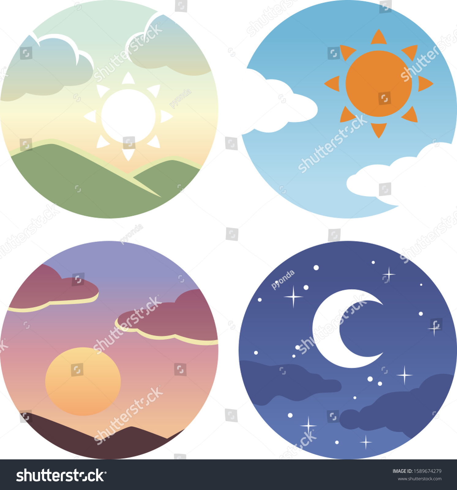 Morning, noon, evening circle icon