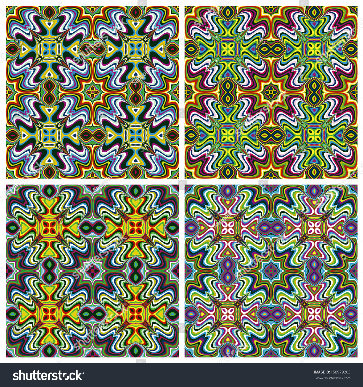 Modern Indian Textile Design With Spiritual Symbols One Pattern