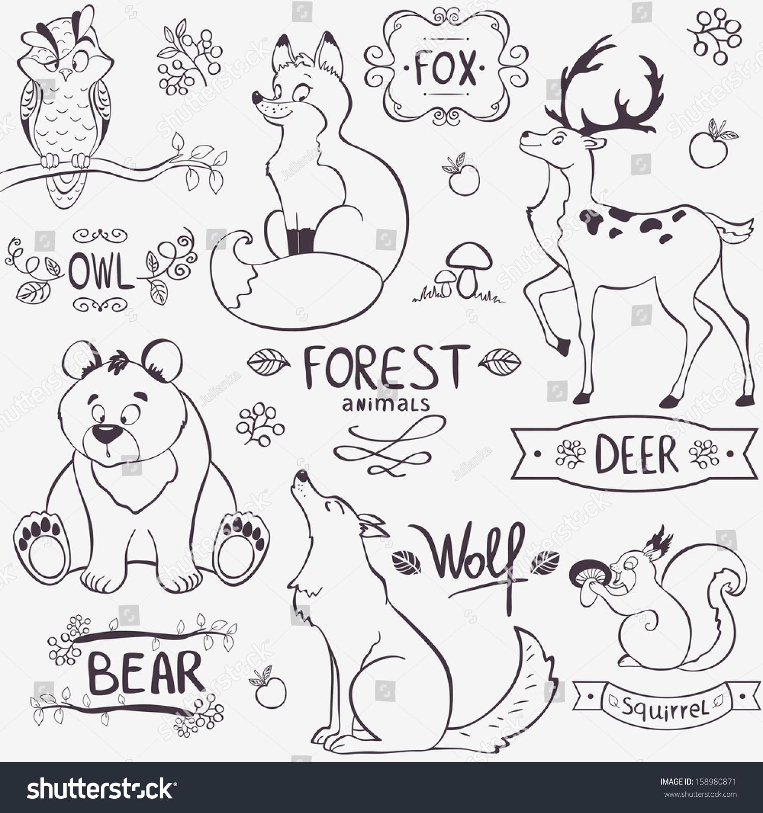 Illustration Set Cute Animals Forest Design Stock