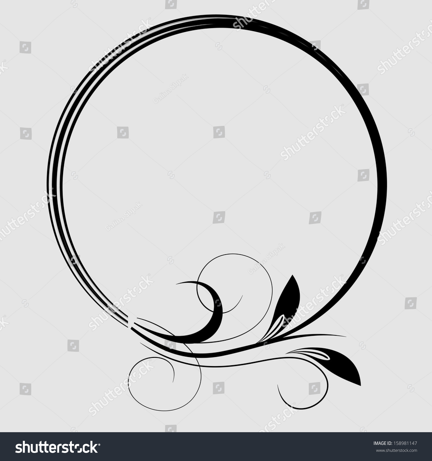 Round frame with decorative branch vector illustration stock -  Vectors Illustrations Footage Music Round Frame With Decorative Branch