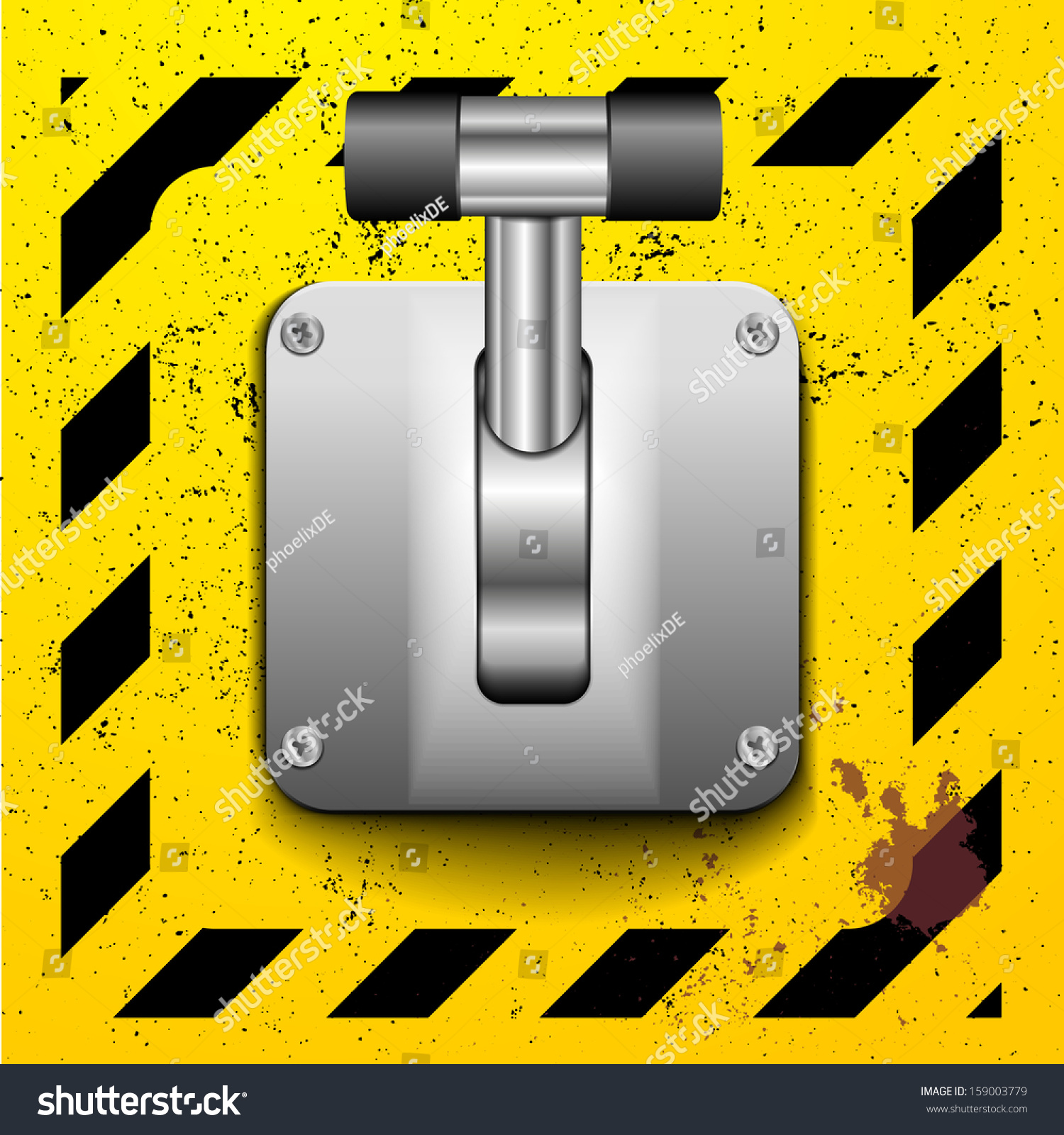 Cartoon Lever Switch : Detailed illustration lever upright position on stock