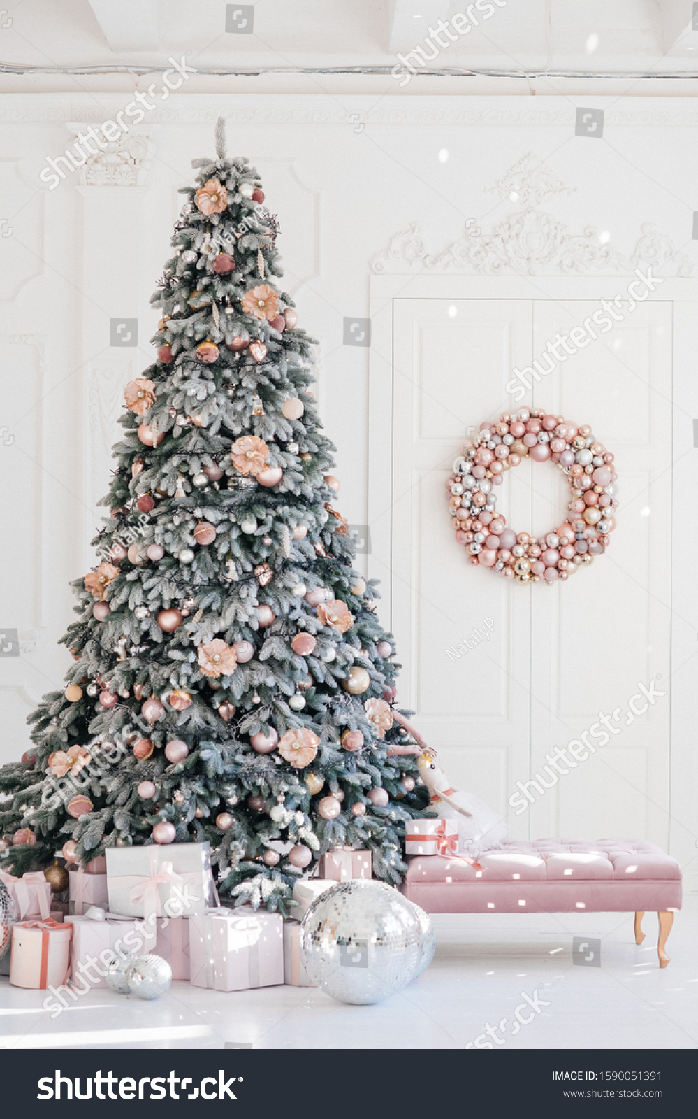 Big White Room Pink Christmas Tree Stock Photo Edit Now 1590051391