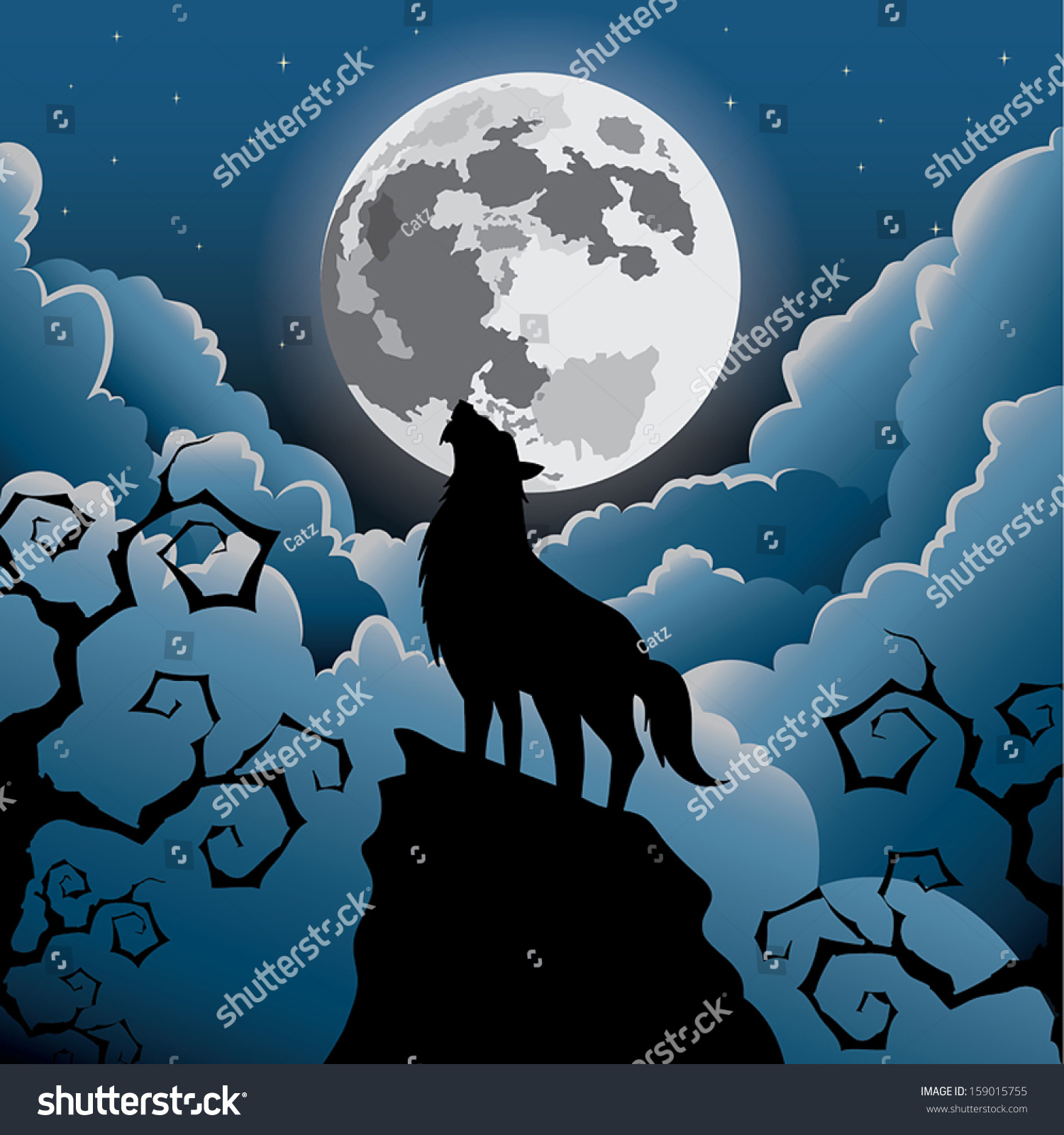 silhouette wolf howling under the moon halloween vector - Wolf Halloween