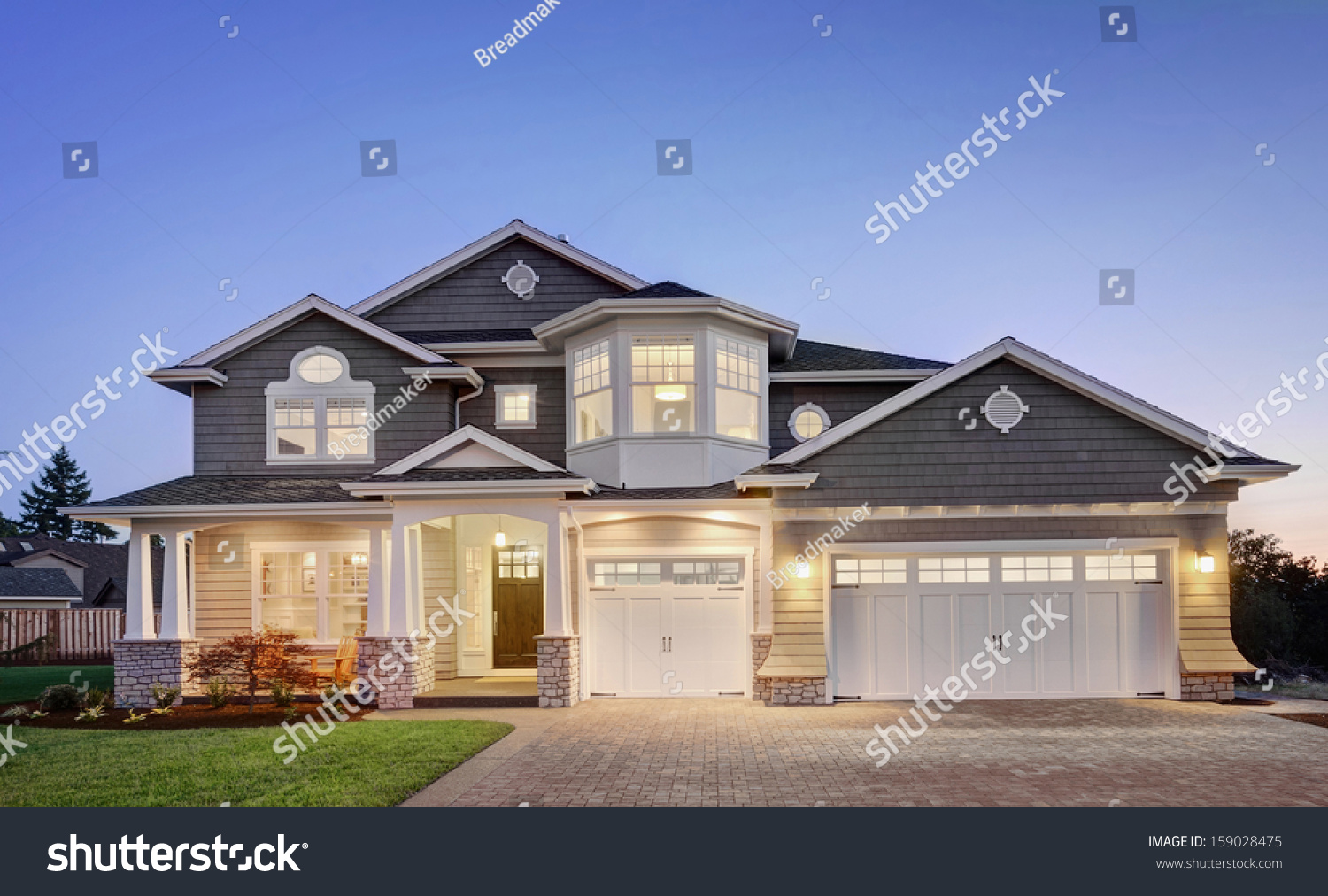 Luxury Home Exterior Twilight Stock Photo 159028475