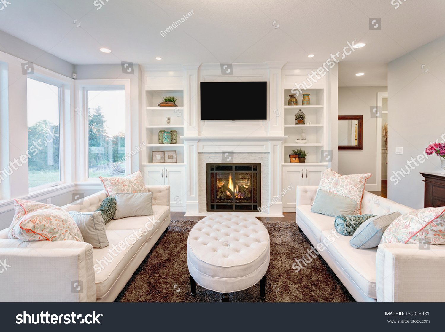 Beautiful living room luxury home stock photo 159028481 for House beautiful living rooms photos