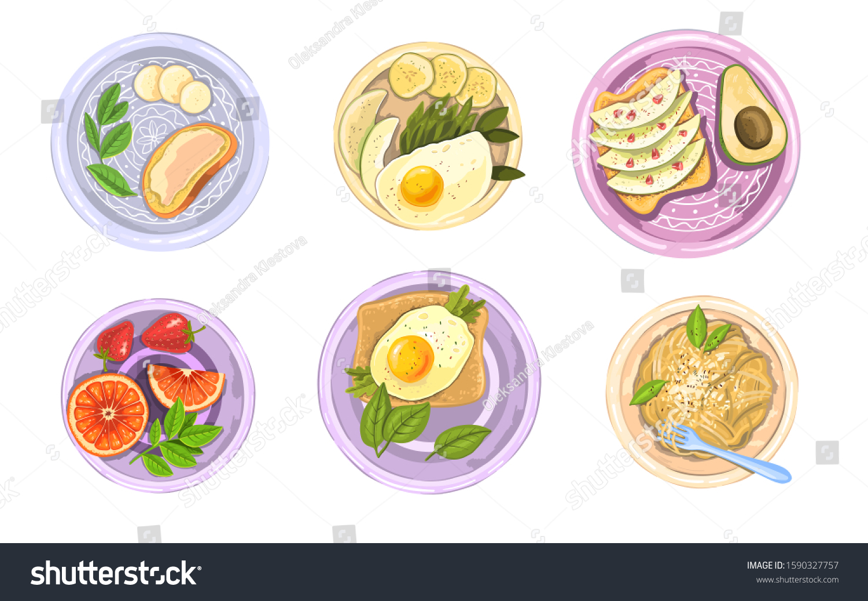 Hand Drawn Vector Set Healthy Breakfast Stock Vector Royalty Free 1590327757