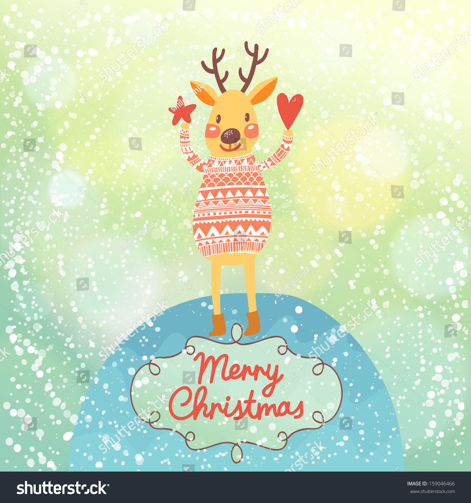 7bd5859344ff1 Bright Christmas card with cute Deer in vector. Bright holiday background  with bokeh effect. Funny deer under snowfall - Vector
