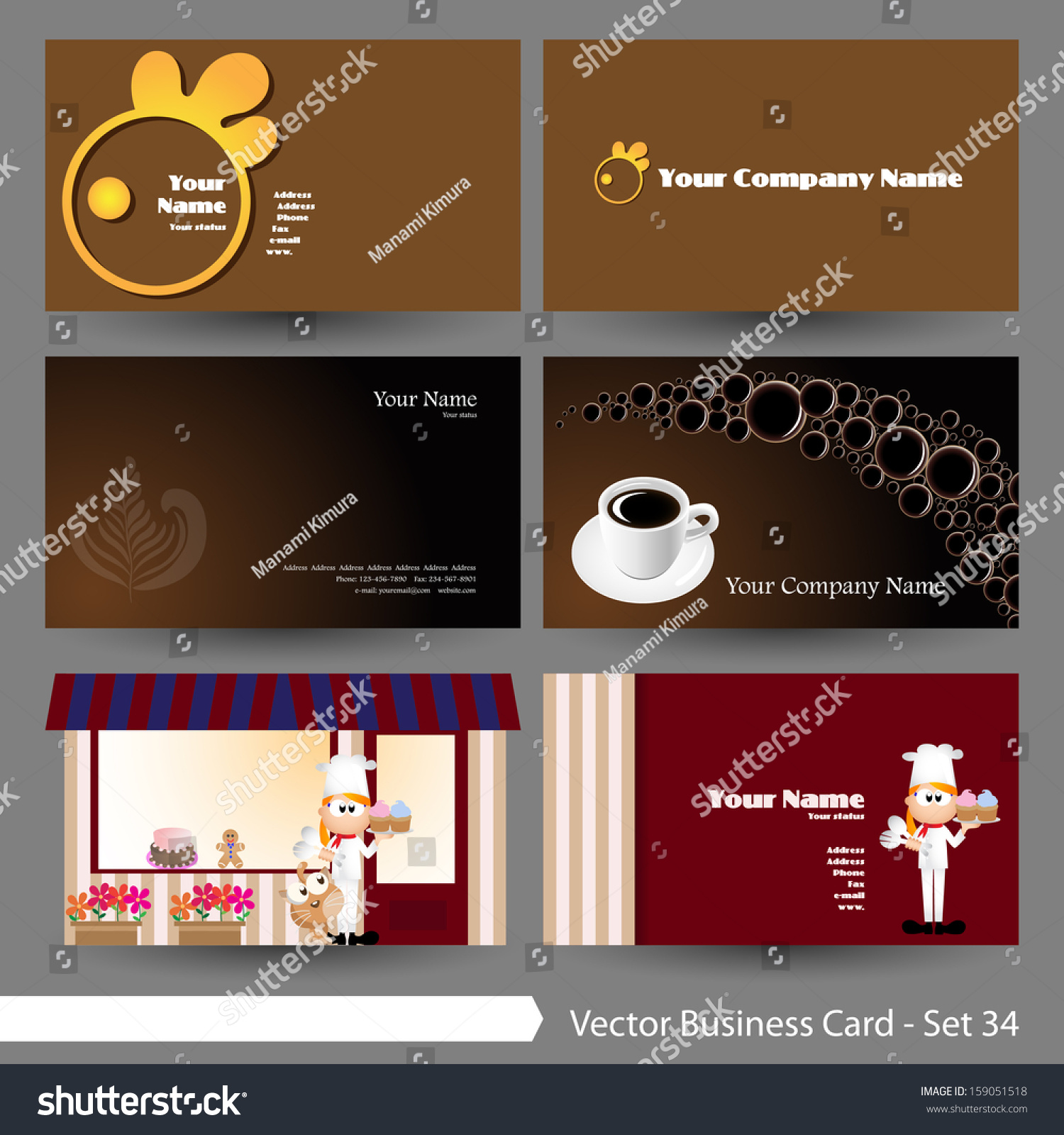 Vector illustration business card template set stock vector royalty vector illustration business card template set food restaurant drink coffee theme flashek Gallery