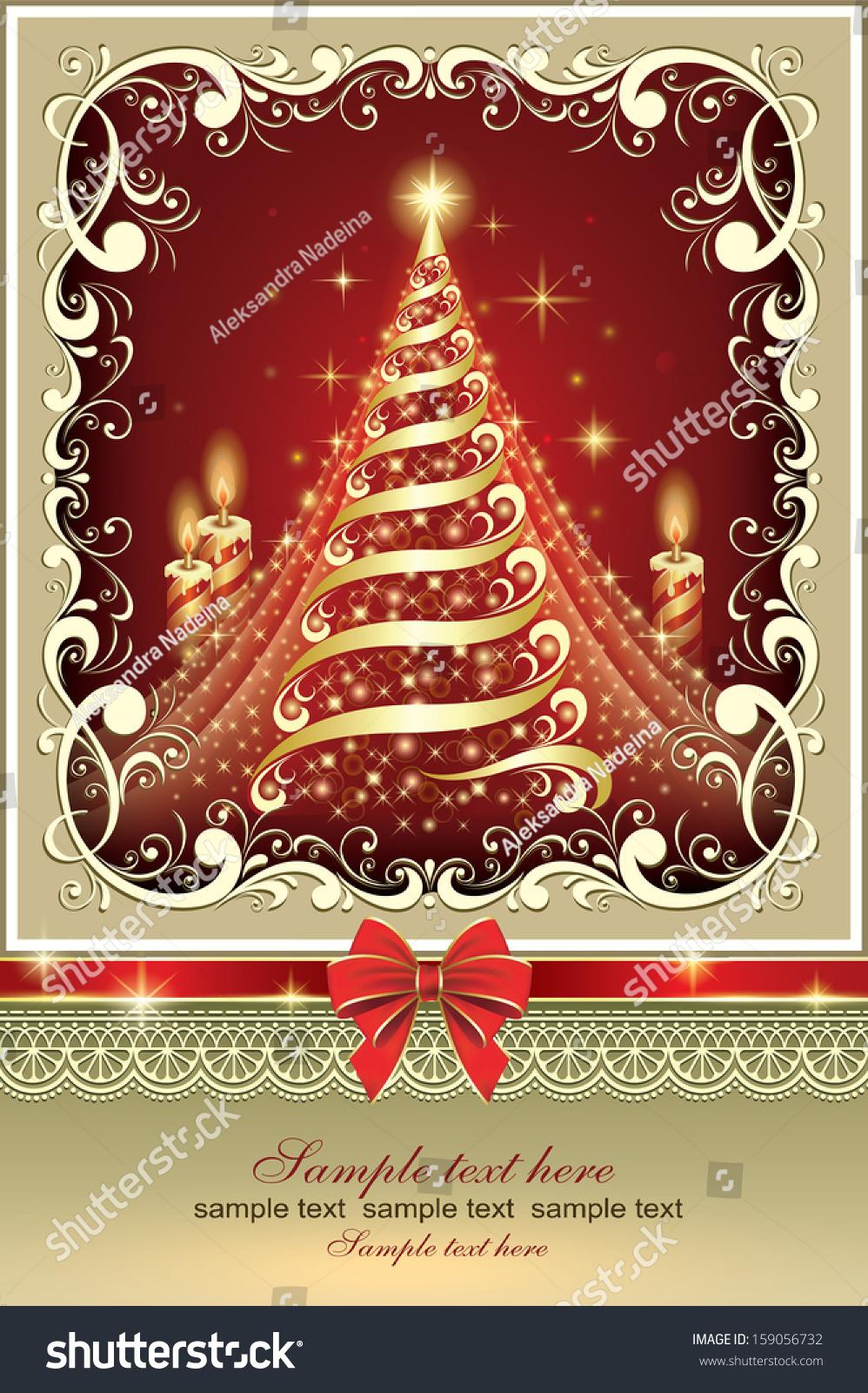 Christmas Card Christmas Tree Stock Vector 159056732 Shutterstock