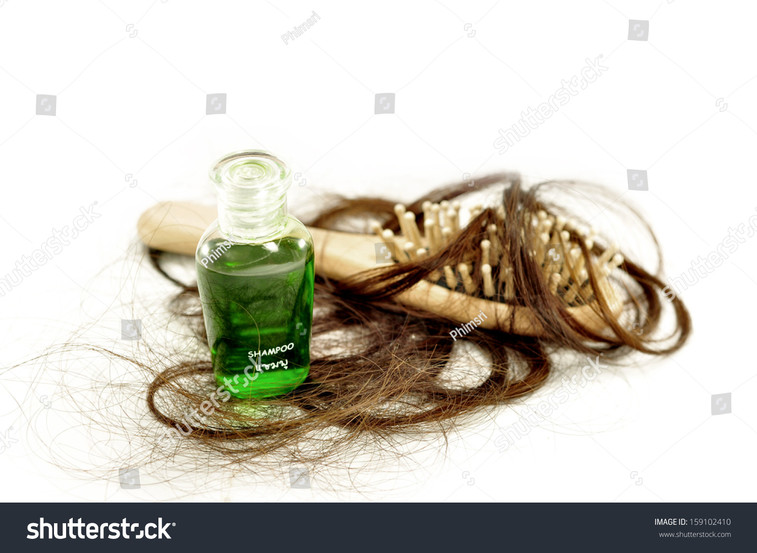 Hair Loss Problem And Shampoo Stock Photo 159102410