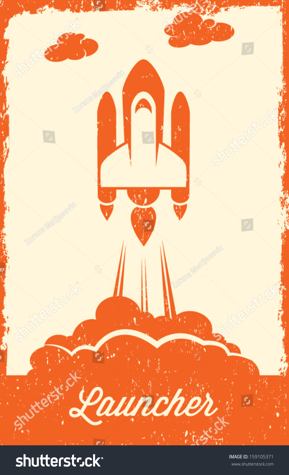 Space Shuttle Launch Retro Style Stock Vector 159105371 ...