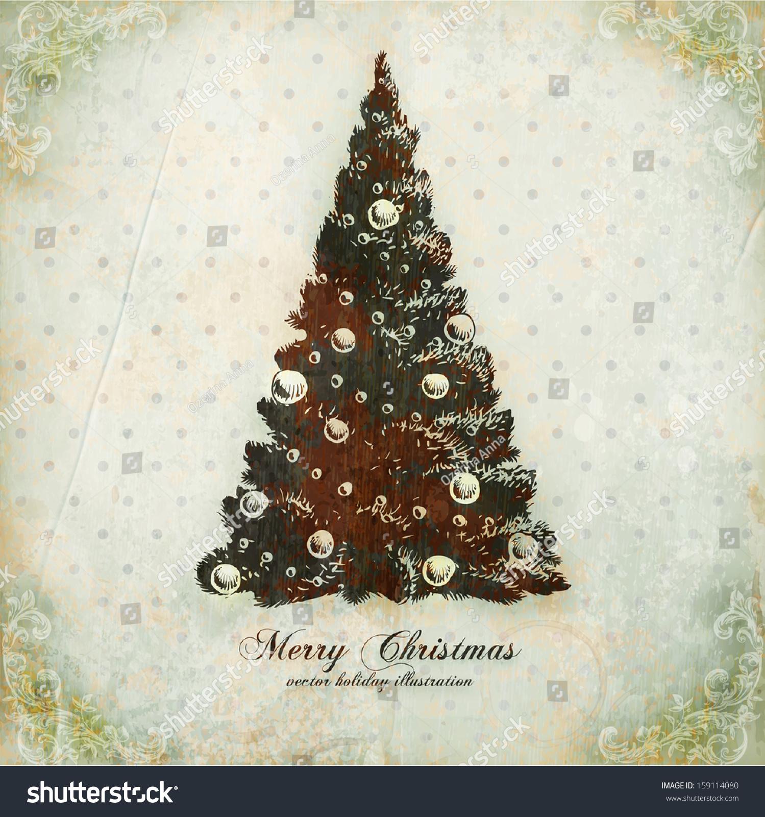 Christmas Tree Vintage Vector Xmas Card Stock Vector (Royalty Free ...
